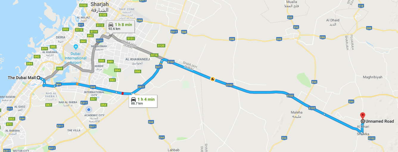 Direction from Dubai Mall to Camel Farm Trek, UAE