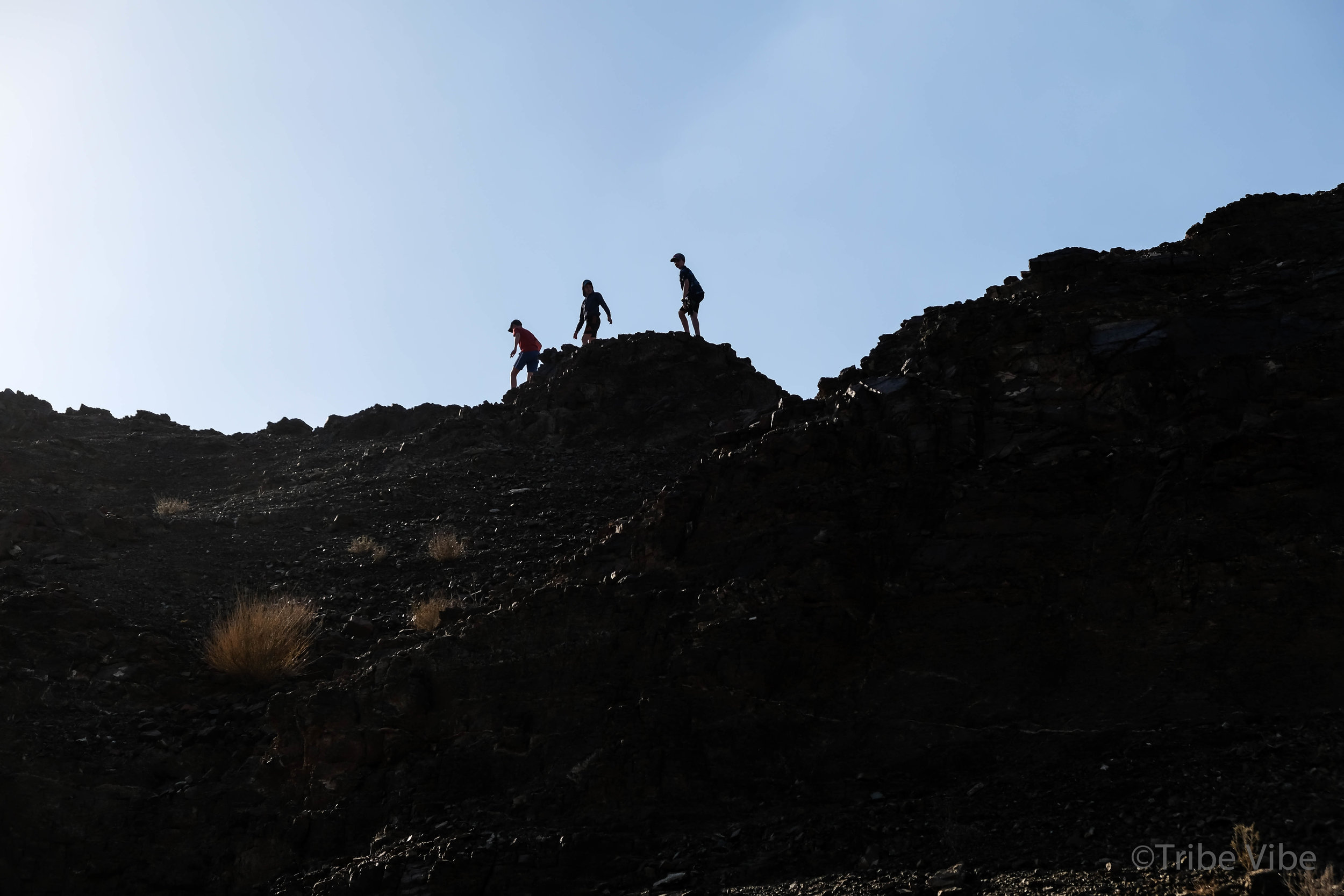 boys on the ridge on the camel farm hike UAE9.jpg