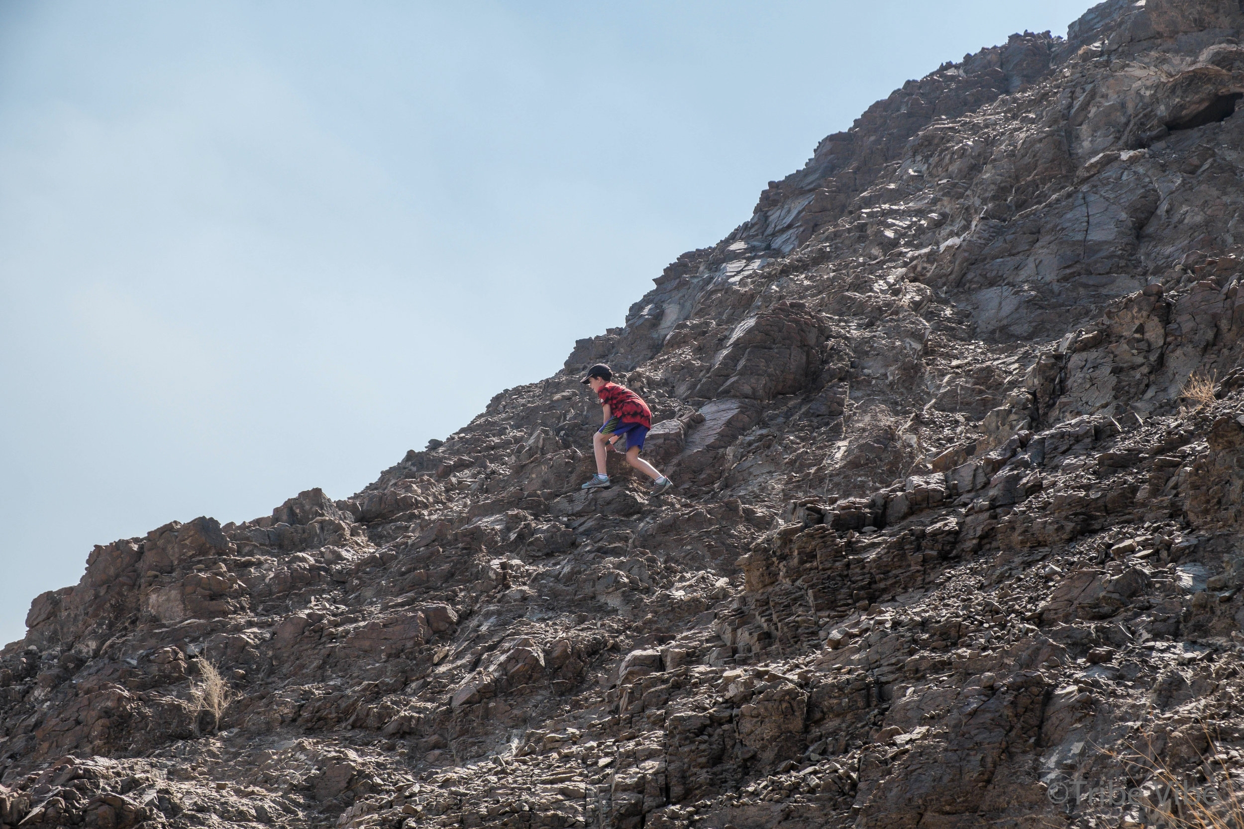 boys climbing rocks on camel farm hike UAE4.jpg