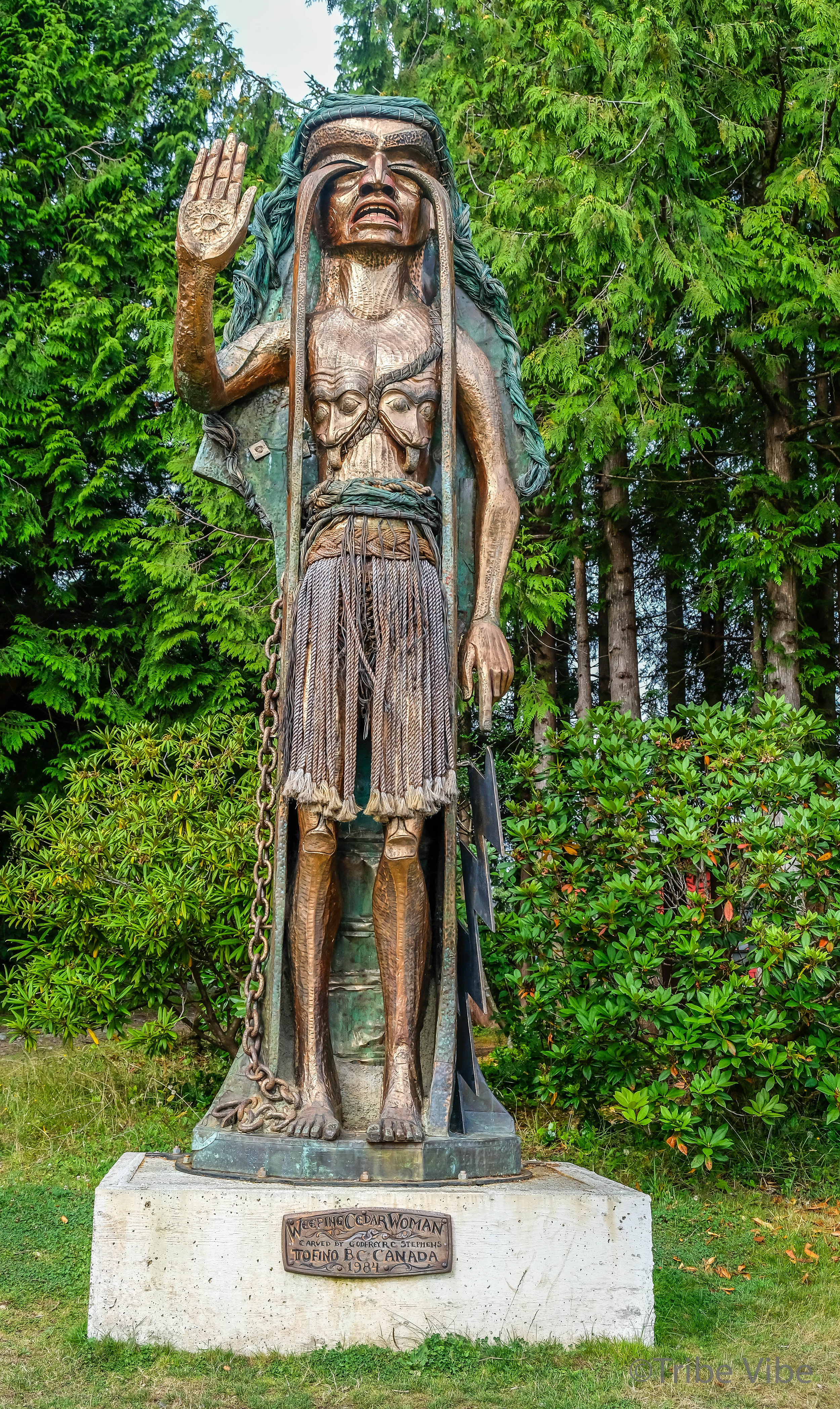 Weeping Cedar Woman representing an important period in the history of Clayoquot Sound, BC