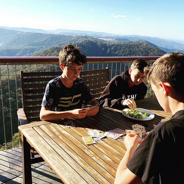 A card game with a view. Good things happen when there is #nowifi Binna Burra Mountain, Queensland, Australia. #binnaburra #hikingwithkids #thegreatoutdoors #mothernature #freshair