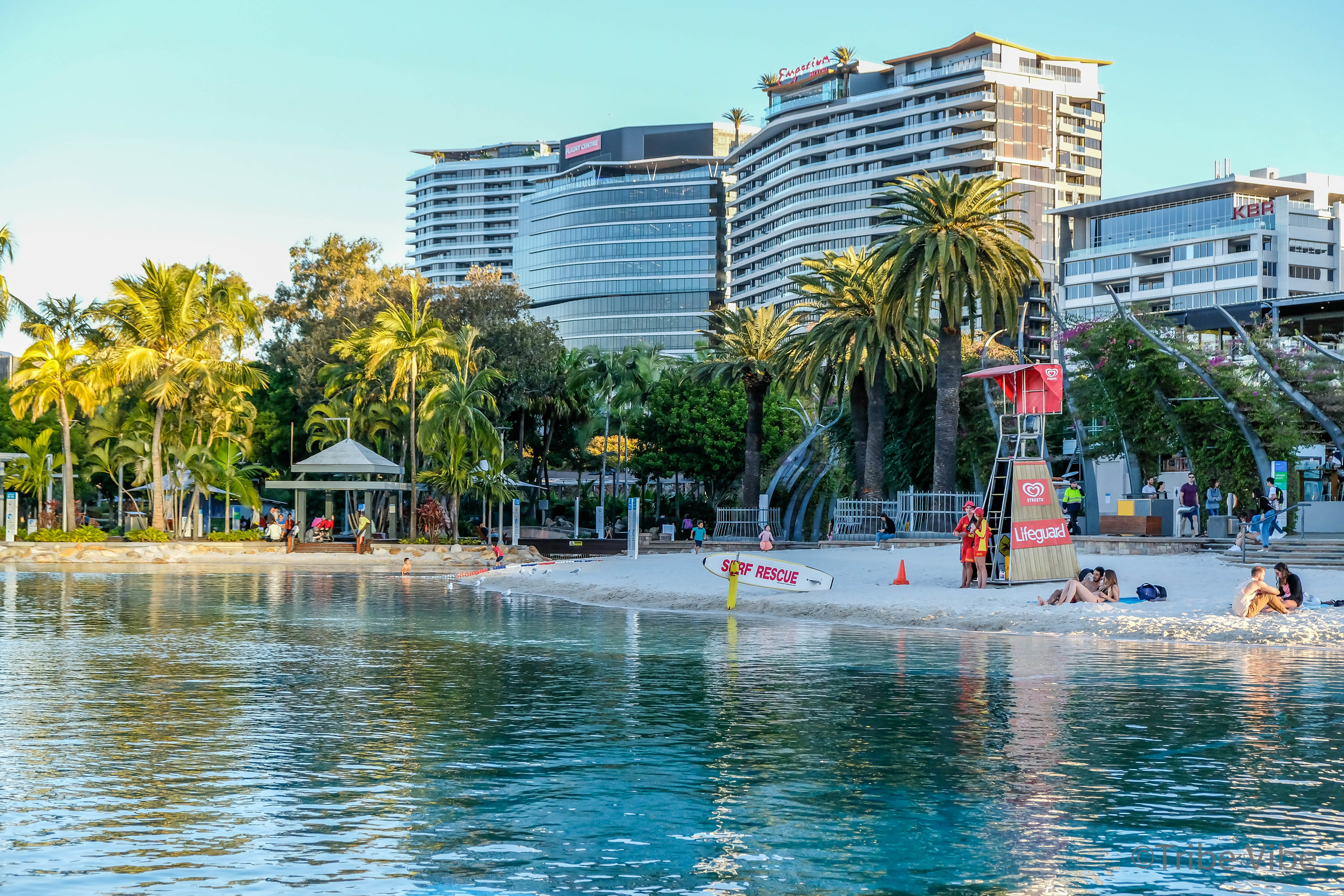 Outdoor beach area at South Bank in Brisbane, Australia.