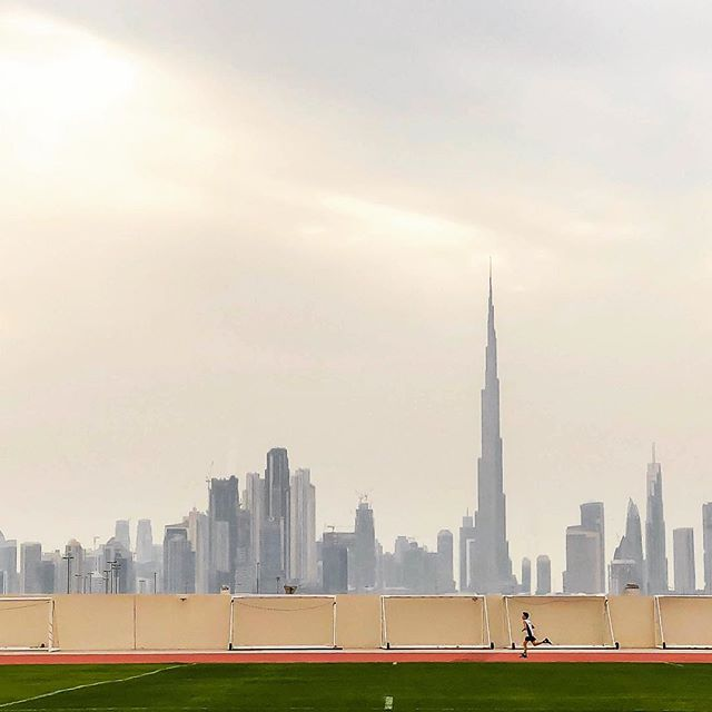 Something to remember. A track meet with the #dubaicityscape in the background.
