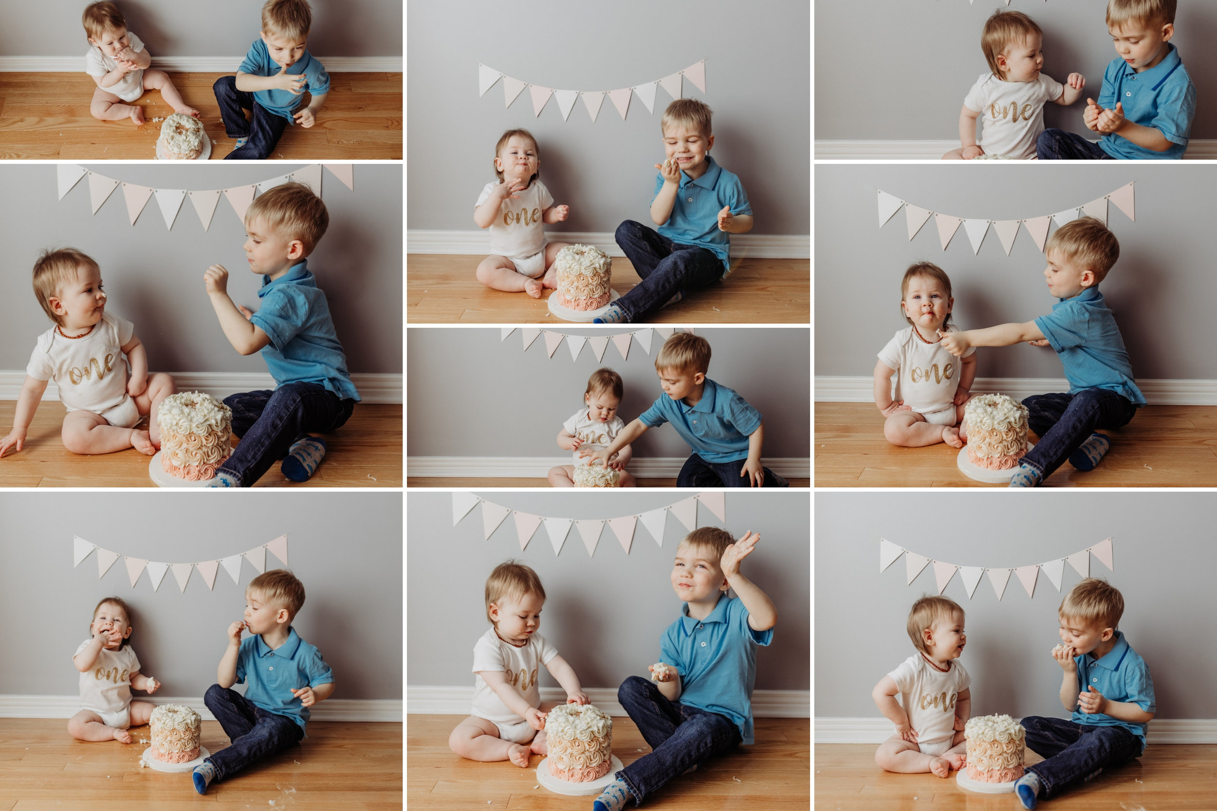 brother and sister eating birthday cake together at the cake smash photo session in Kanata