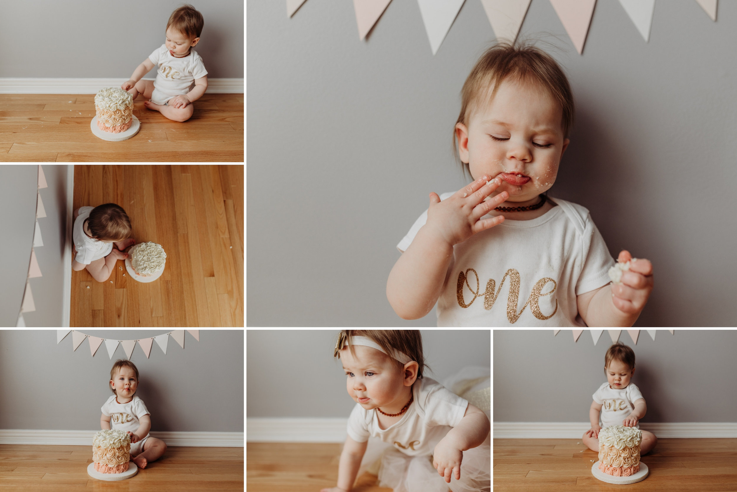 young girl eating birthday cake and smiling at the cake smash photo session in Kanata