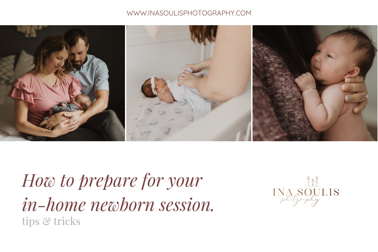 three cute newborn babies in a collage for an In home lifestyle newborn session preparation guide