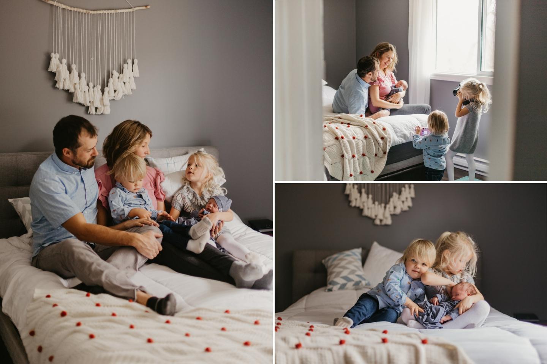 Family of three children newborn baby photo session in Kanata Ottawa