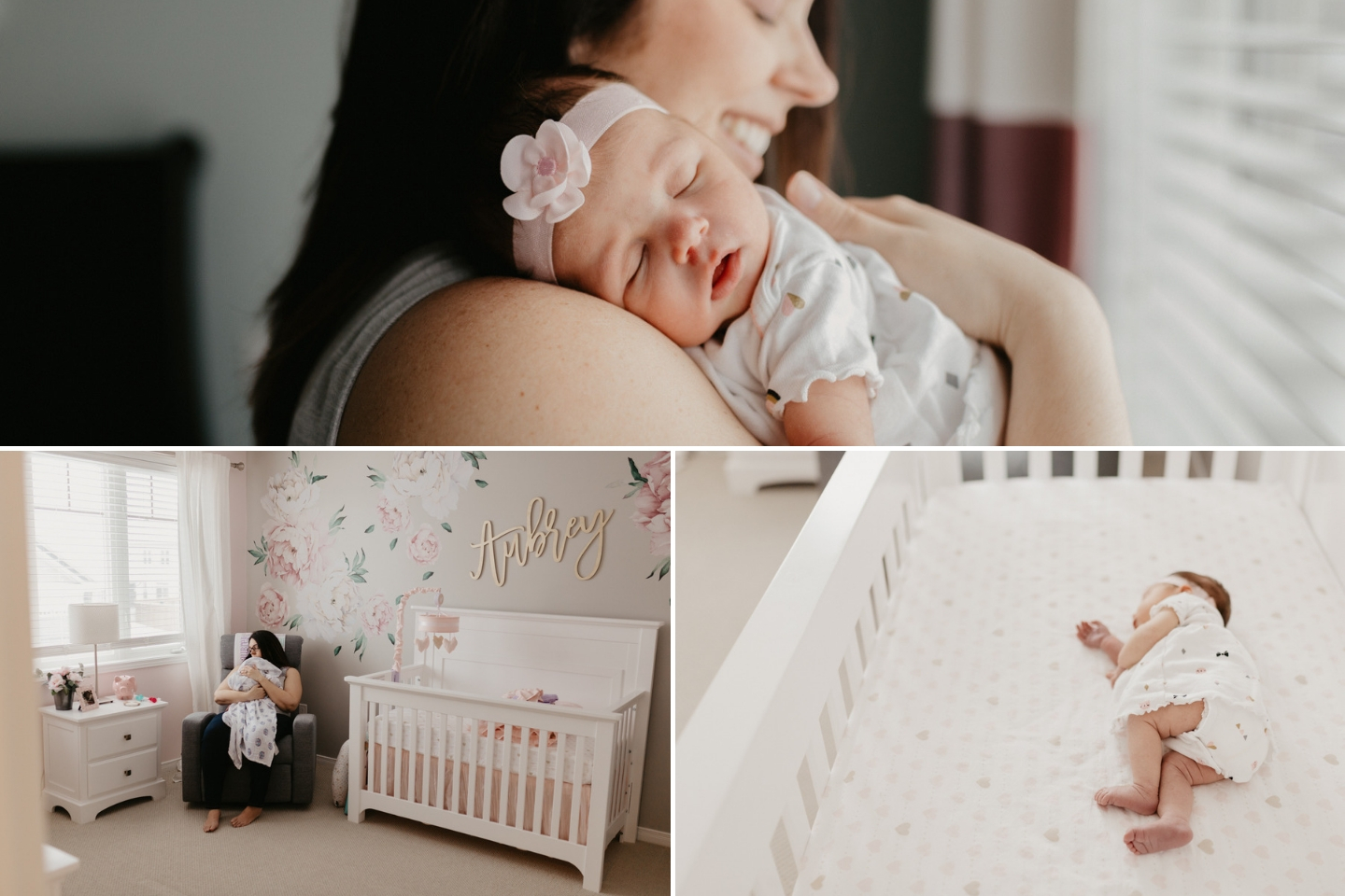 Newborn baby photo session in a beautiful bright home with pink nursery decor in Kanata Ottawa