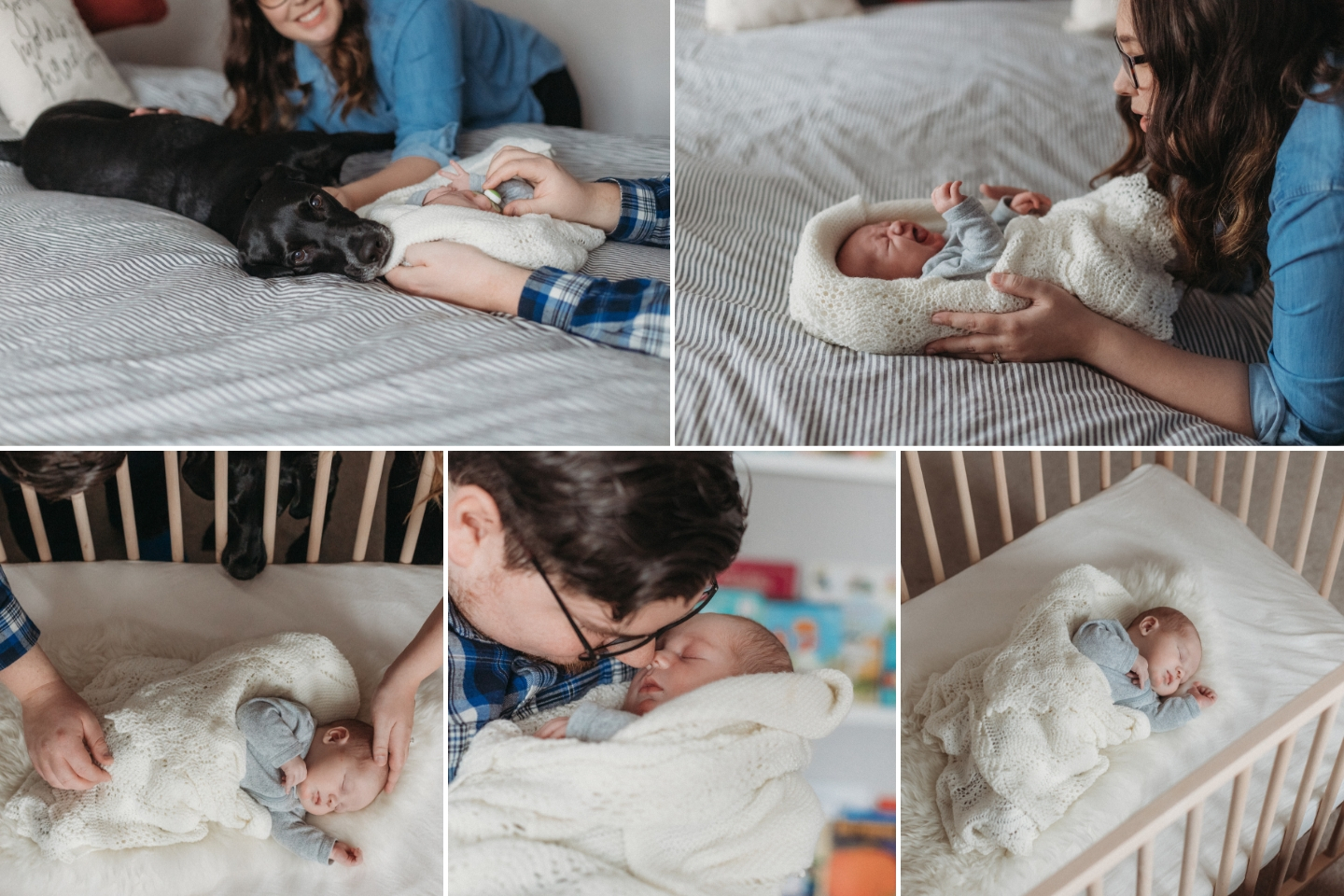 Newborn baby boy and his family snuggling in the nursery with the dog