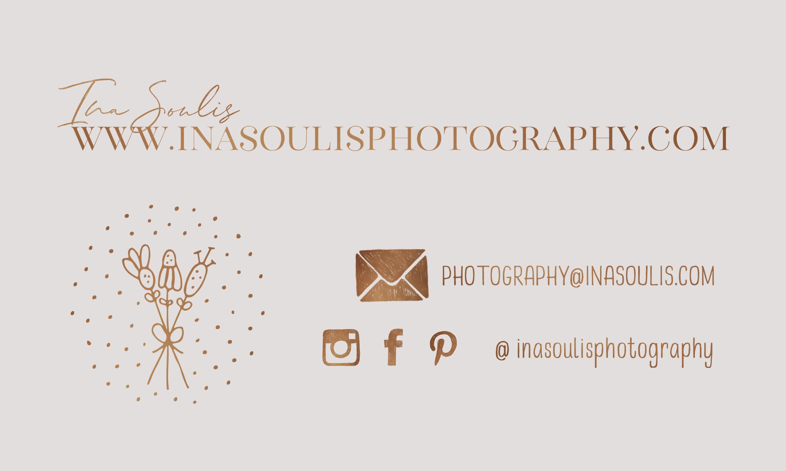 Ina Soulis Photography Business card of Kanata Ottawa Maternity Newborn Family Photographer