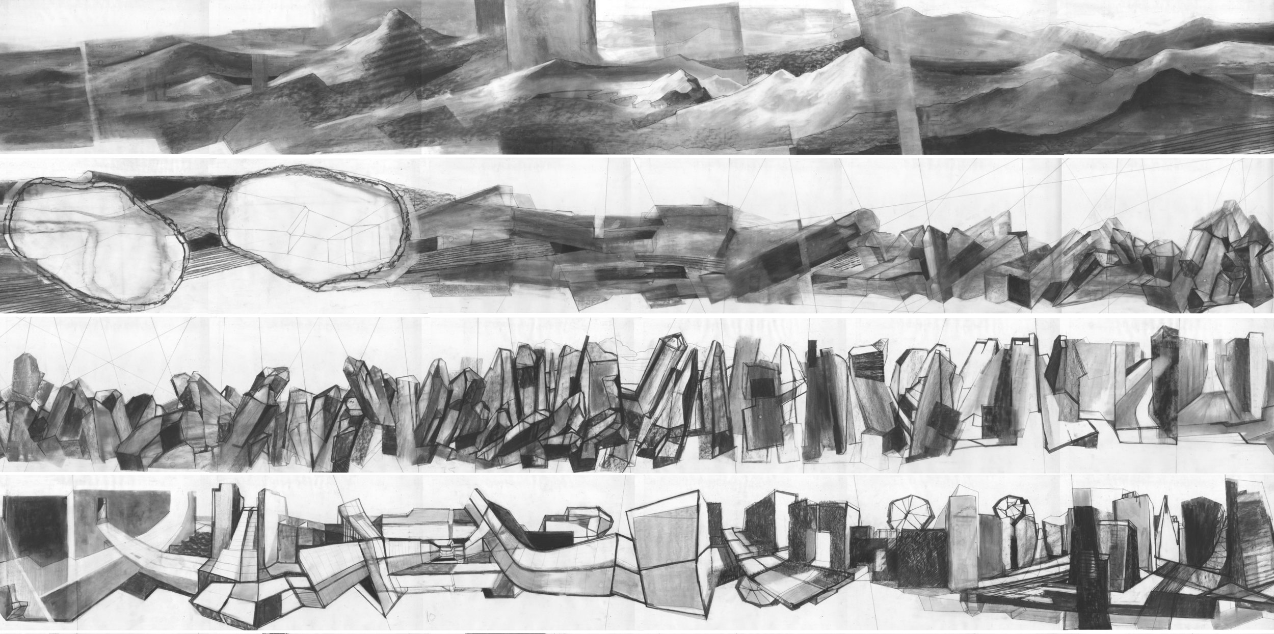 /// Cycle n°3  / detail / charcoal and black pastel on tracing paper / 20 meters - 33cm / 2013