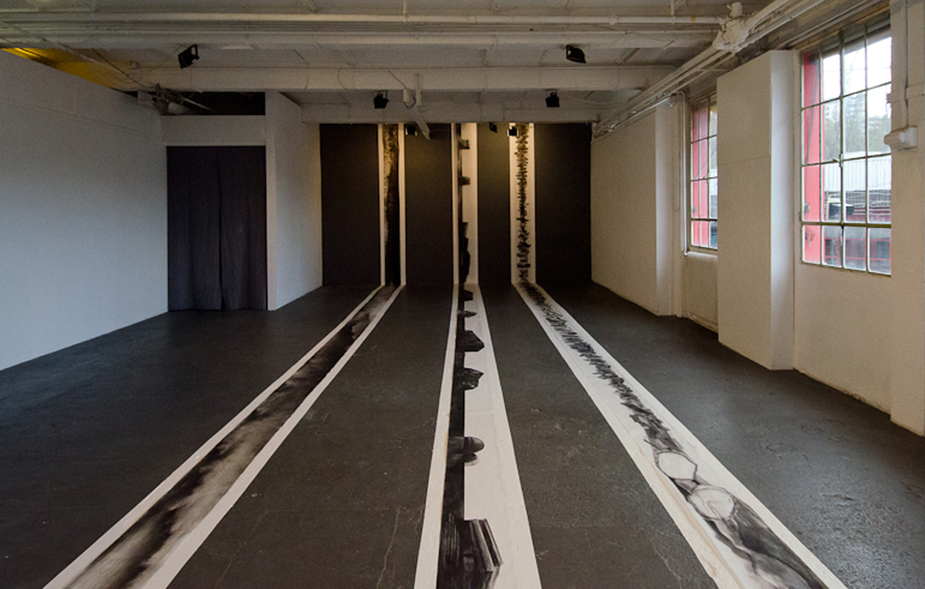 ///Calques  / view of the exhibition /a collaboration with Ariane Monod and Léonard Félix / Espace Cheminée Nord - Kugler Factory / 2013