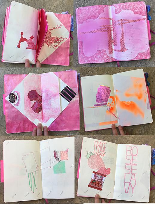 ///c'est un agenda molesquine 2013 à couverture rose  trouvé au marché aux puces, au fond d'un carton 'tout à 5 francs'  laissé pour compte, terne et inanimé  il a été rempli  à fur et à mesure  avec une légèreté sérieuse  dessins, collages, découpages, mots  il a pris corps  il s'appelle   pinku   21-13-4 cm / 2013-2018
