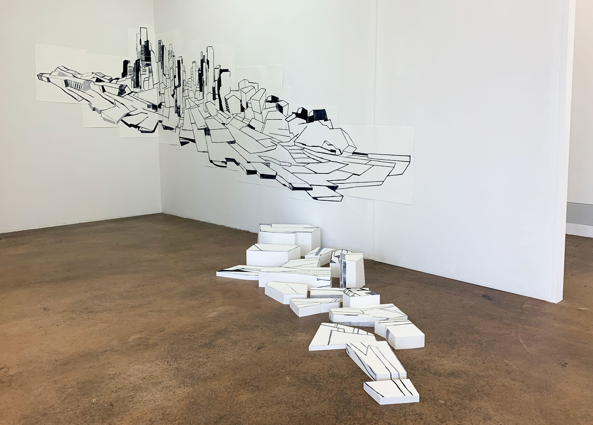 ///Barre Oblique / Collage made out of 20 monotypes and 3D Forms printed on Rives paper / 1.50x4.50 m / exhibition view at AKKU-Kunstplattform / 2018-19