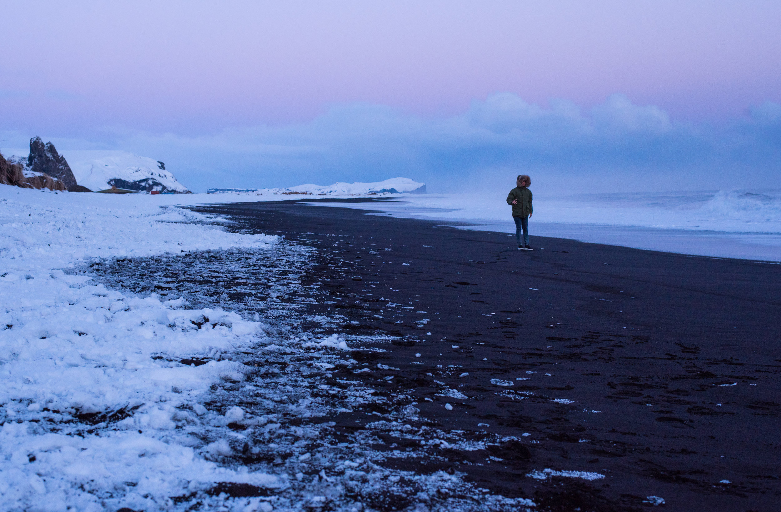 Parker walking a snowy beach outside Vik, Iceland.