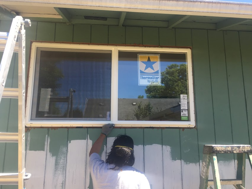 New windows are getting installed wherever the old aluminum frame signle pane windows are. This will help with heat retention, air sealing, and soundproofing the house. There's also rebates for swapping in new windows in rental units.
