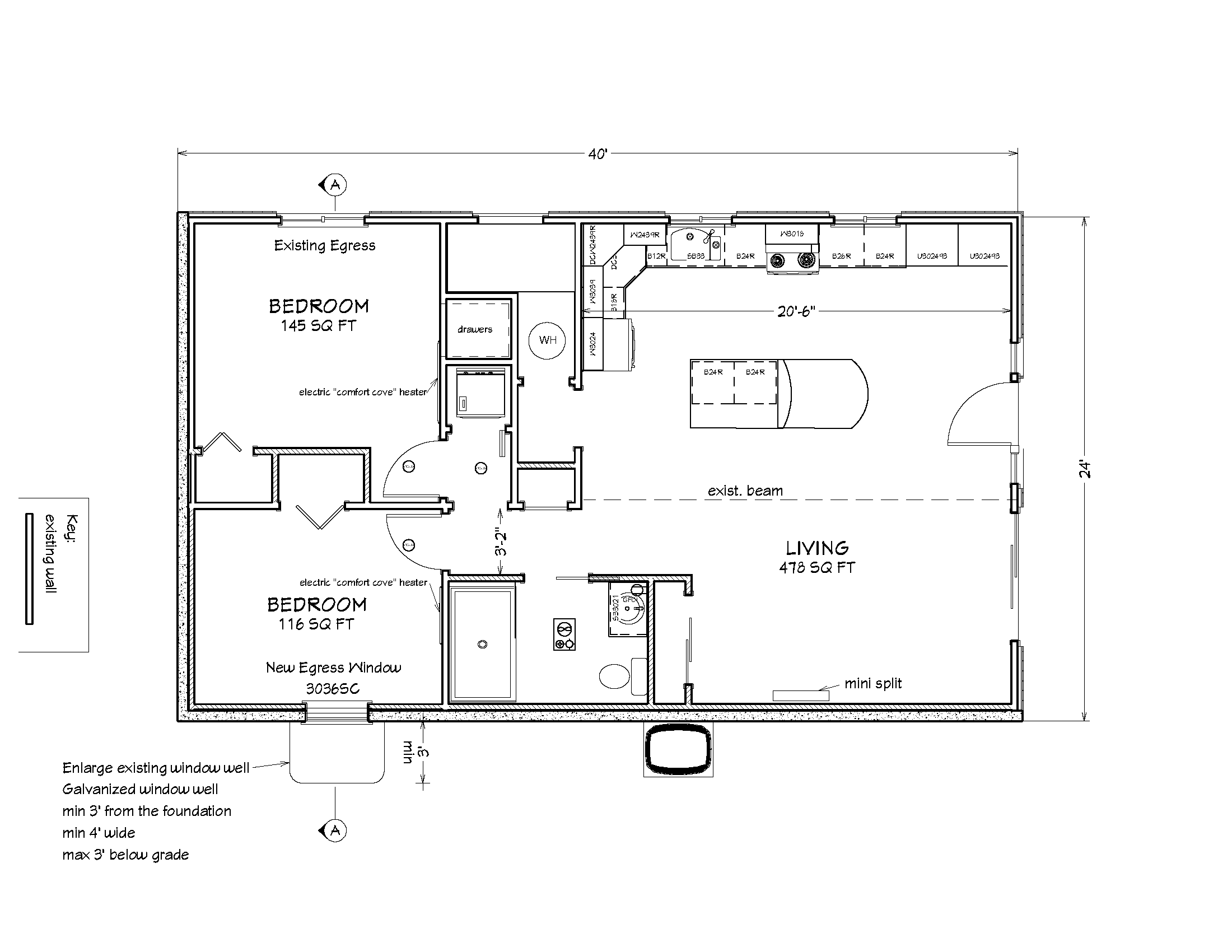 And here's the conventional 2D floorplan of the ADU