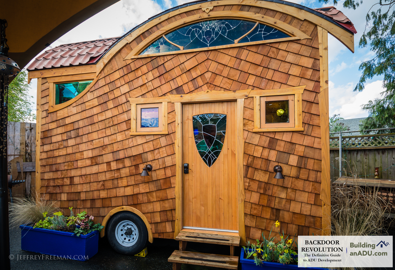 Pacifica , a tiny house on wheels, located at Caravan- The Tiny House Hotel. Tiny houses on wheels are not ADUs, but have helped propel interest in small housing options.