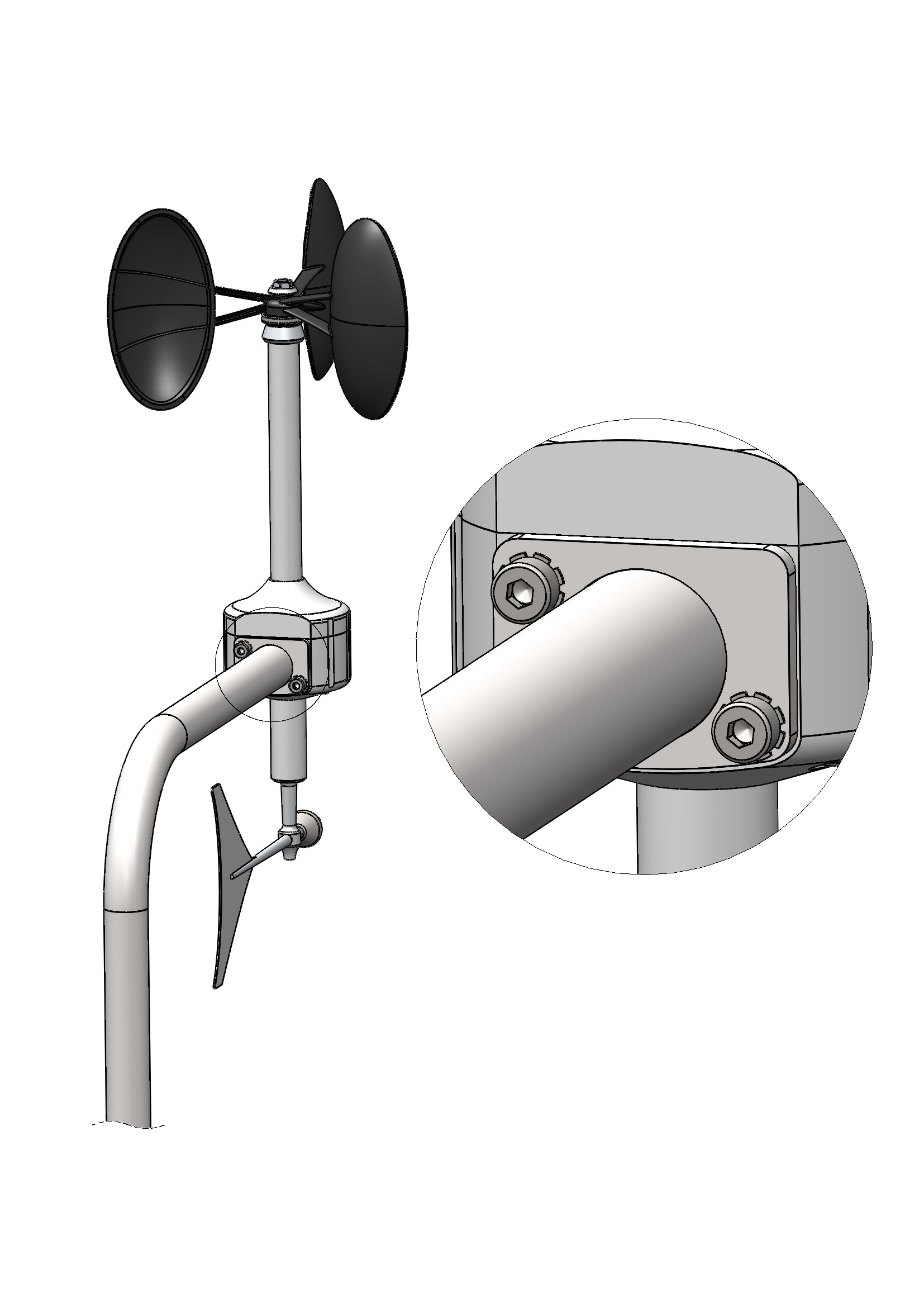 Meteowind 2 anemometer with wind vane mounting.
