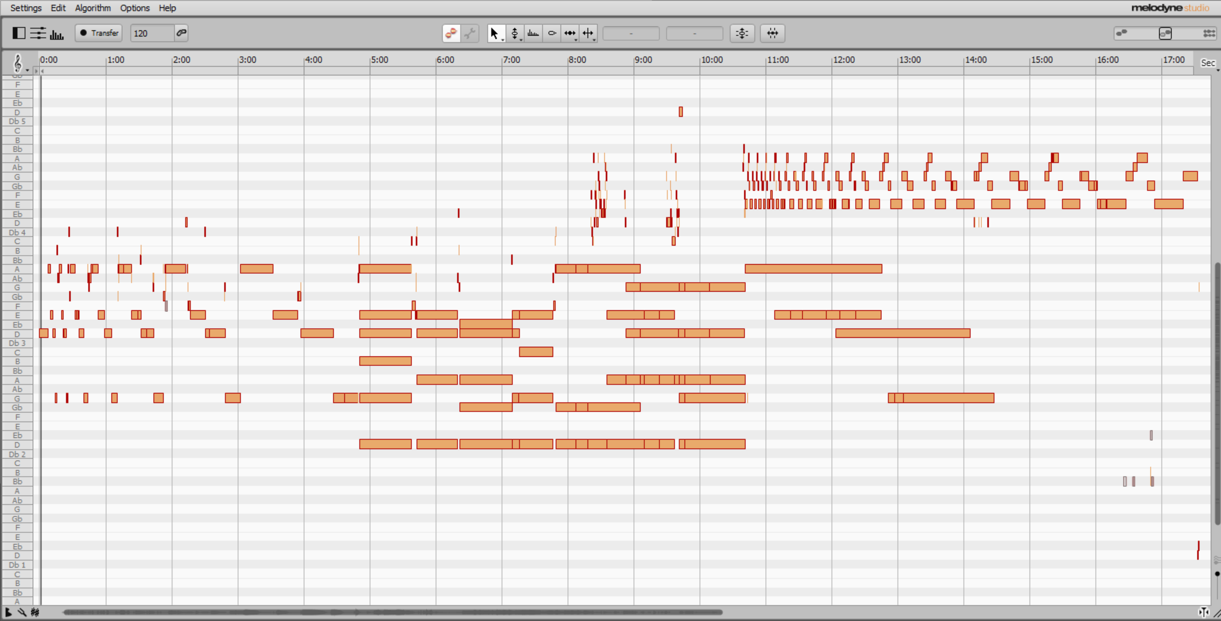 Screenshot of Melodyne's editor window of the project. The exponential extensions can be seen [english]