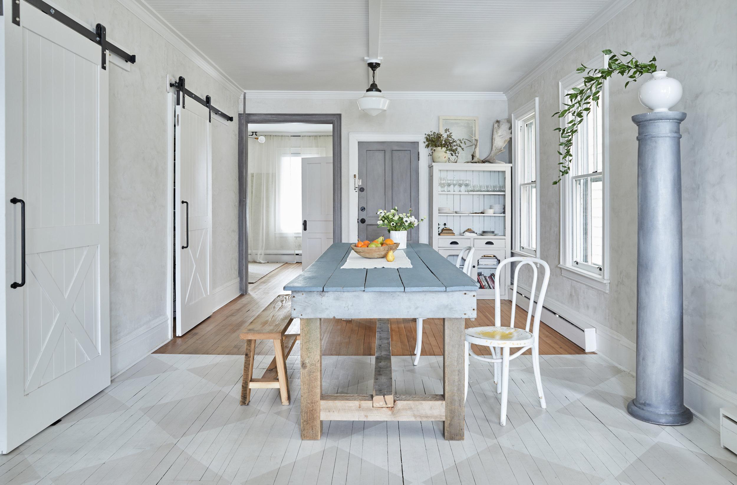 our 10 foot long, custom farm table seats 10-12