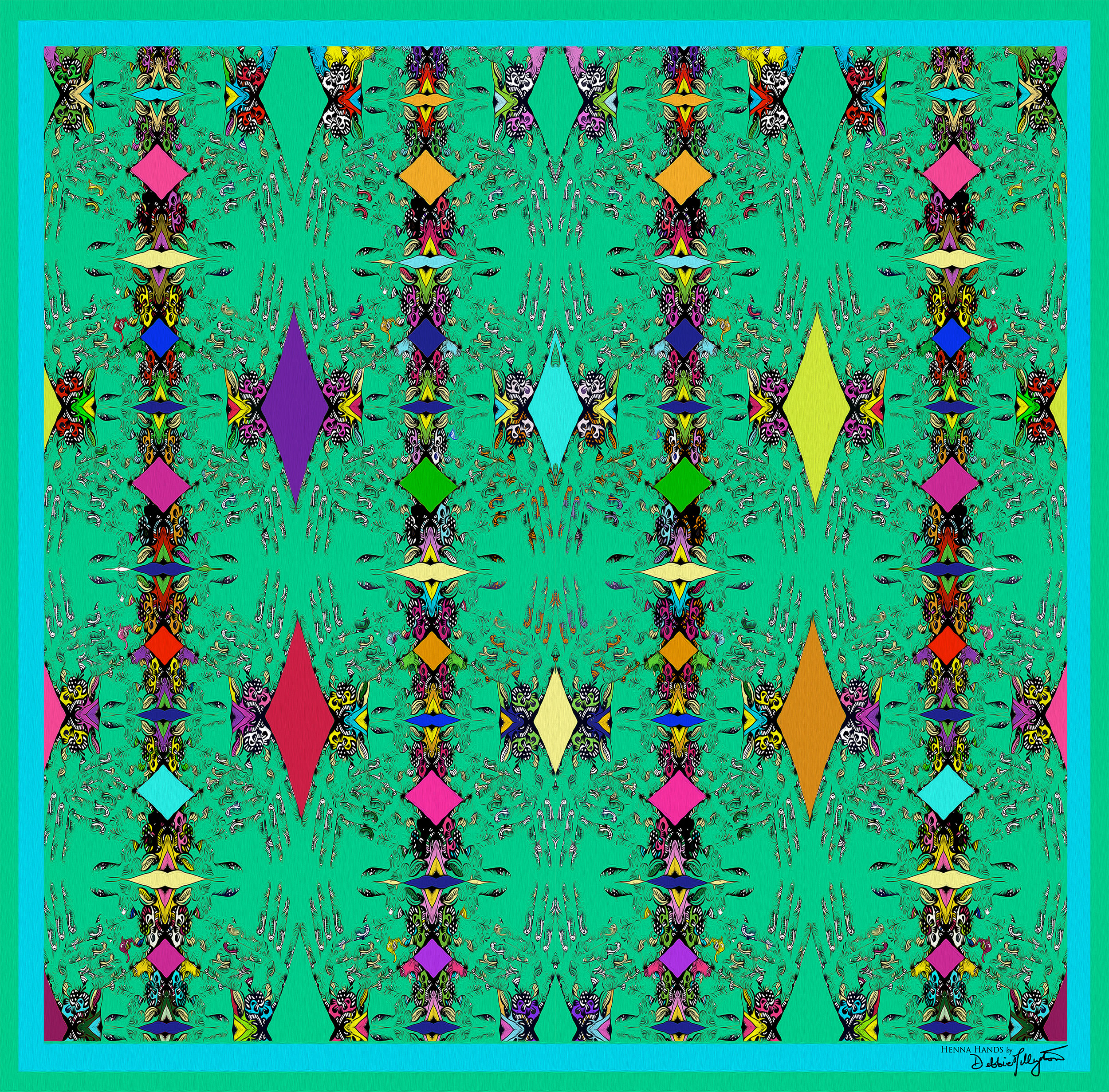 Intricate with vibrant jewel coloured repeat design on silk