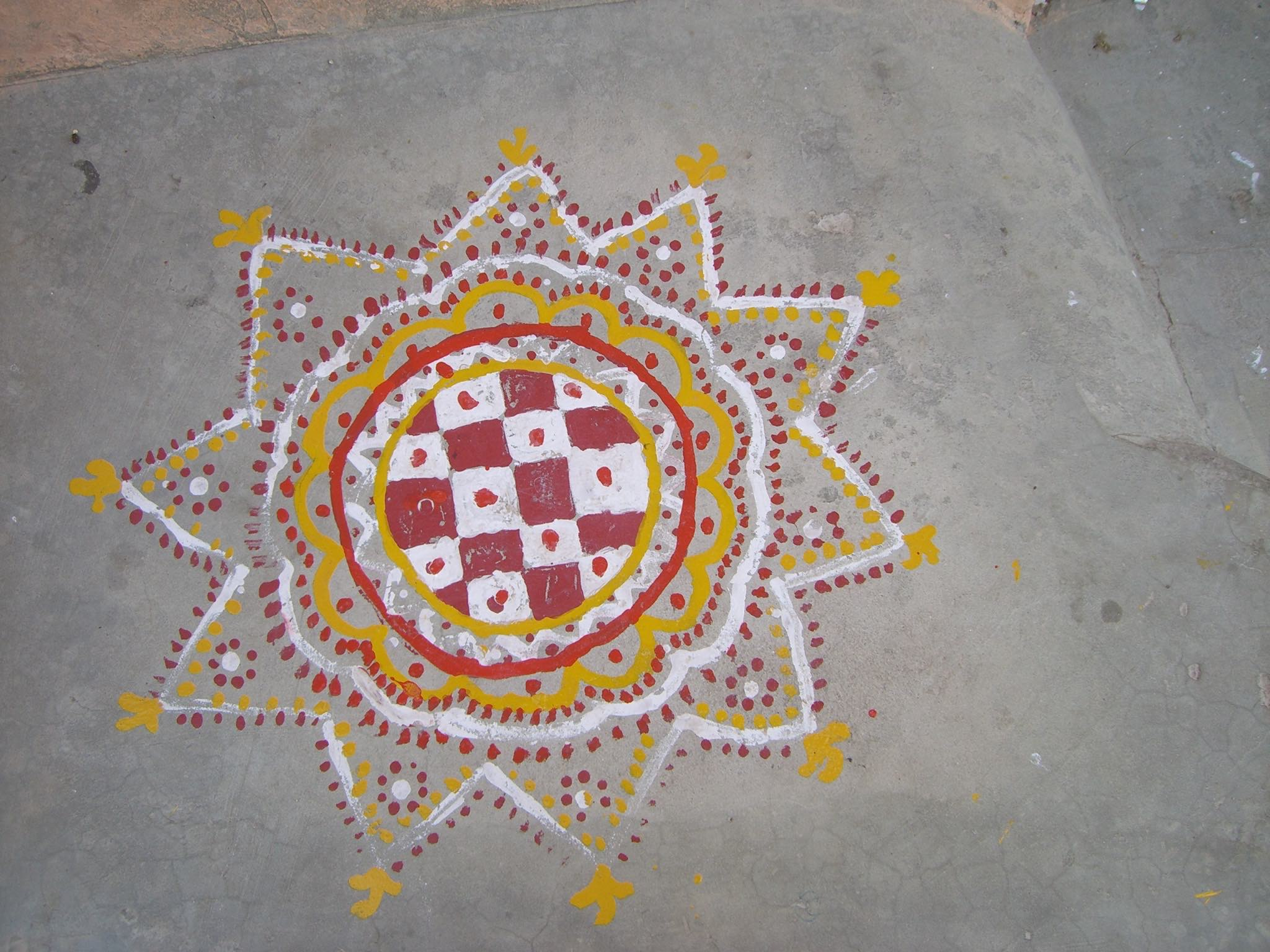 Kolam white four painting