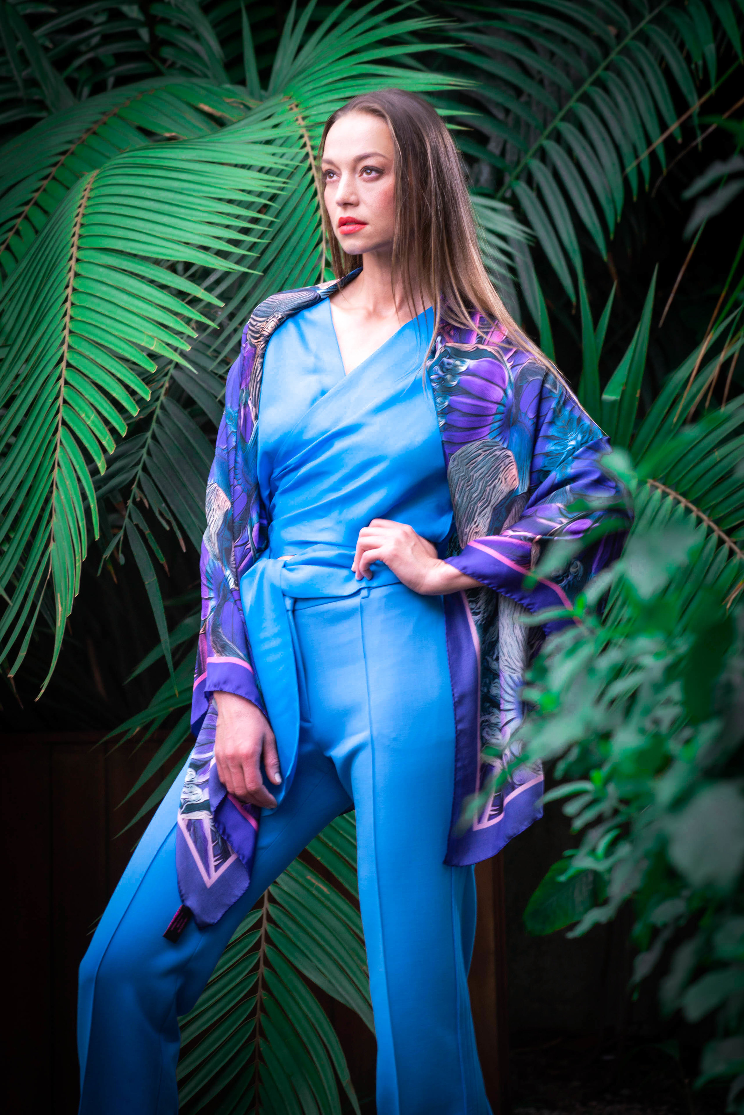 caribbean blue and purple sarong style large silk wrap .jpg