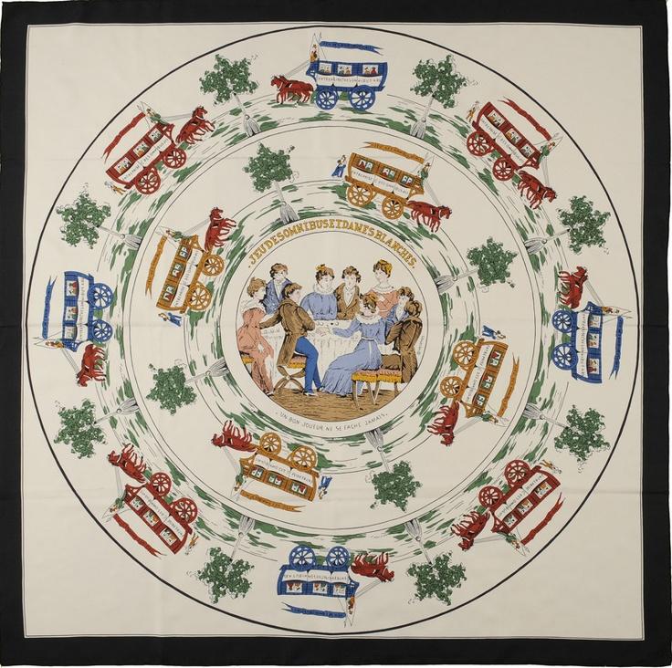 'Jeu des Omnibus et Dames blanches' Hermes silk classic squarre 90 c 90 cm