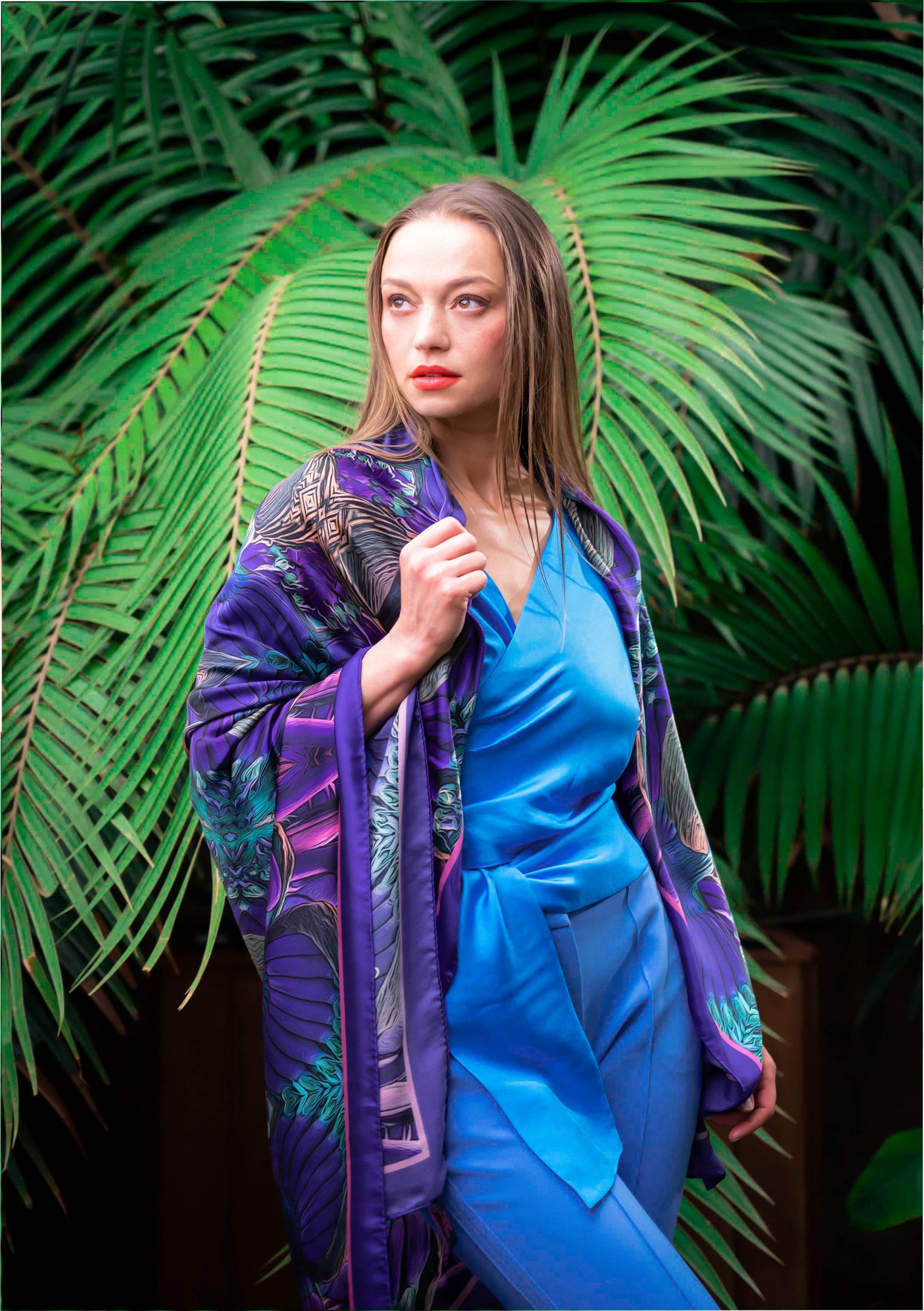 Bunches of bananas purple silk scarf