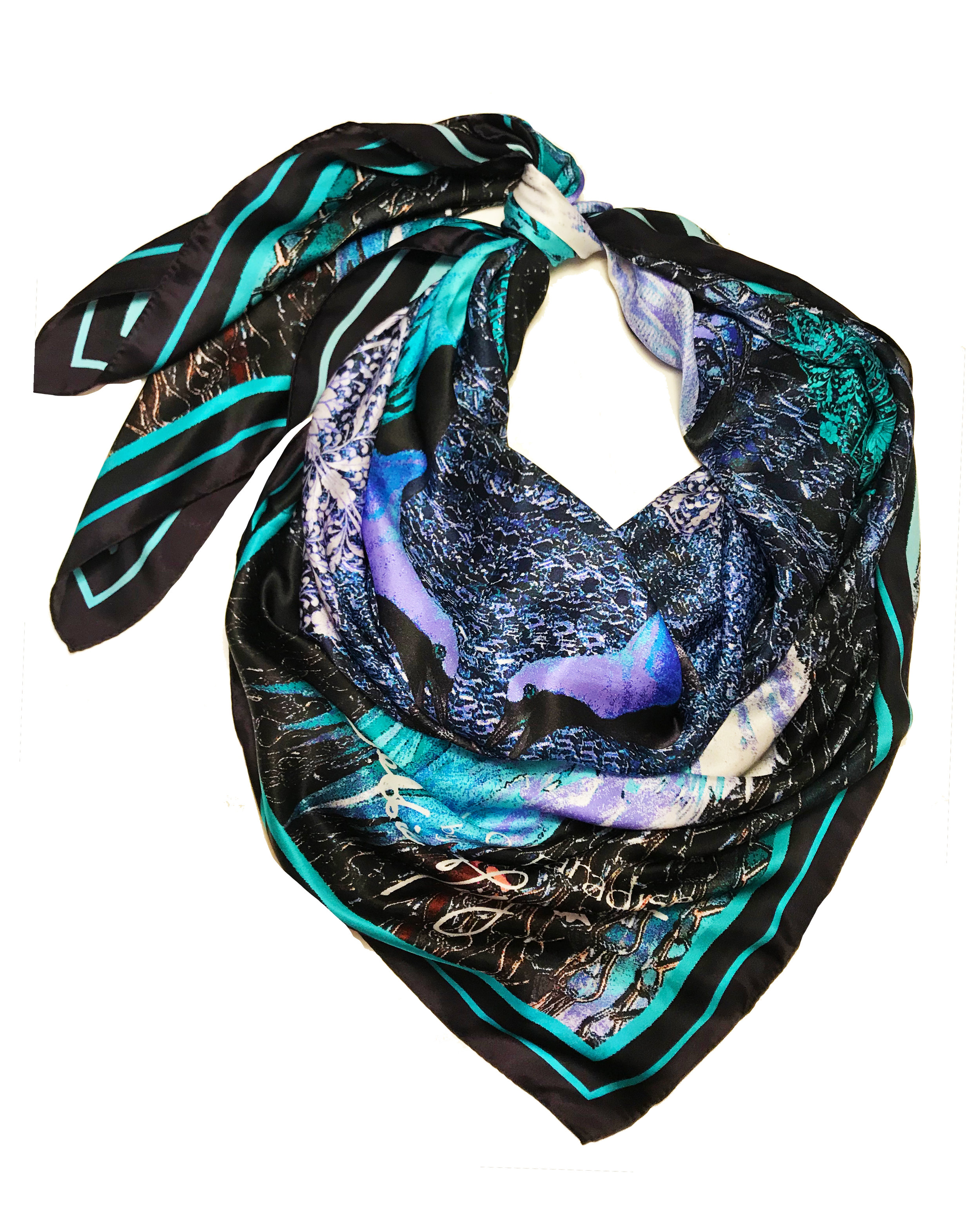 Chinese Birds of Paradise in blue large silk wrap scarf