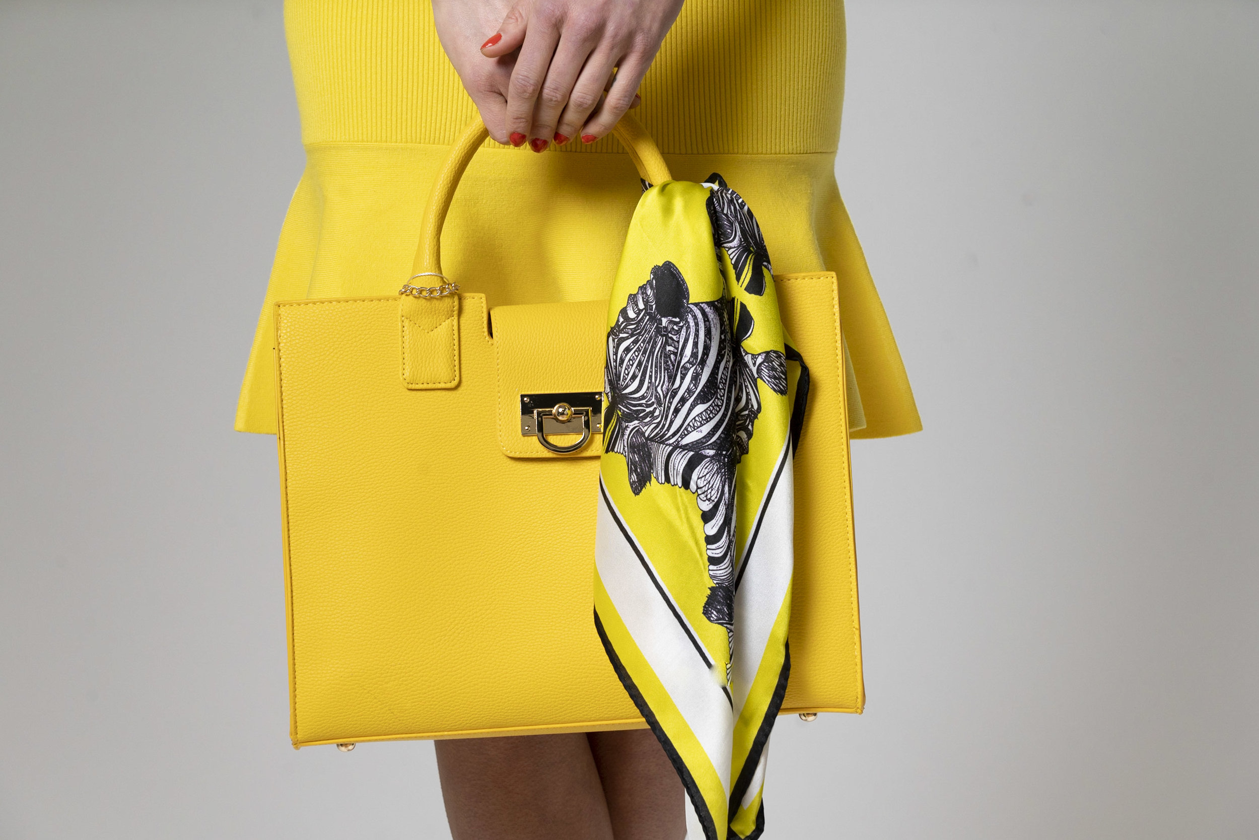 Debbie Millington printed silk square scarf yellow bag tie