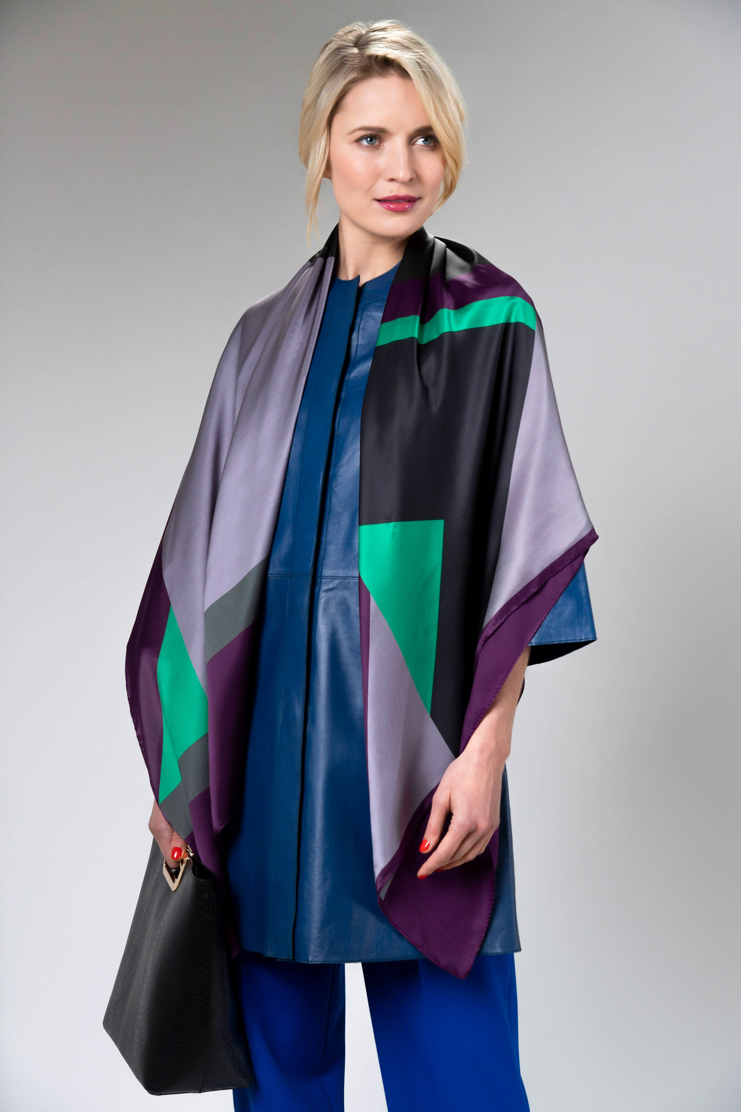 Debbie Millington large silk wrap cubic neon black colours