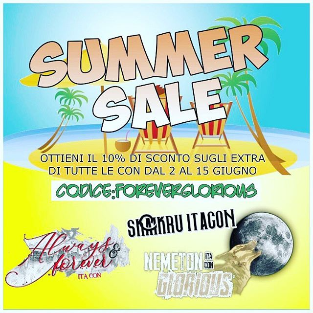 📌📌💗 #Summer #Sale ❗️da oggi 2 Giugno al 15 Giugno incluso 10% di sconto sugli extra di tutte le Con🎉🎉🎉 con il codice FOREVERGLORIOUS ( tutto maiuscolo) 🇬🇧🇺🇸✅ Summer Sale from today 2nd till the 15th June 10% discount on the Extras for all our Events! Use the Code FOREVERGLORIOUS all capital letters. 😍🎉#AlwaysAndForeverItaCon #NemetonItaConGlorious #SkaikruItaCon #The100 #TheVampireDiaries #TheOriginals #TeenWolf #TVD #fandom #Rome #Convention #meetandgreet #event #actor #fantasyevents