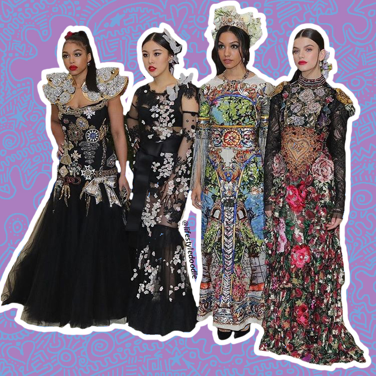 (L-R) Lori Harvey, Natasha Lau, Corinne Foxx, Sonia Benammar x Dolce & Gabbana