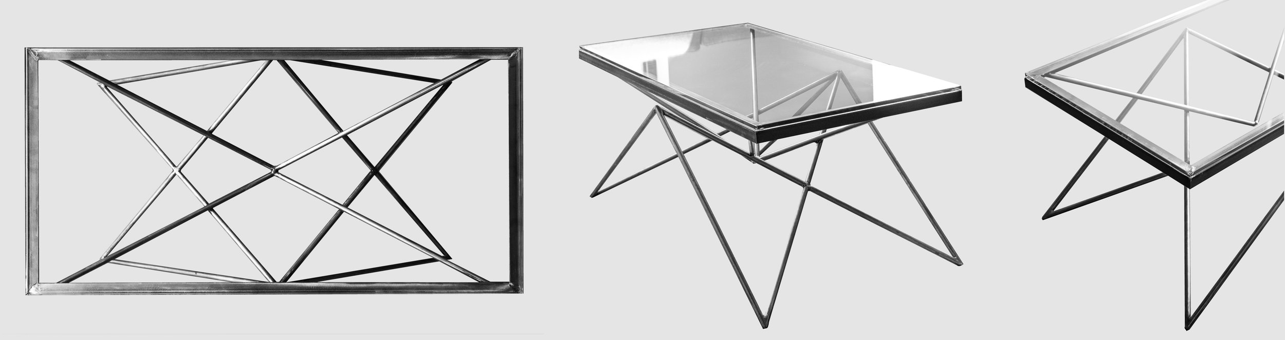Metal and glass table    Collaboration with Ludovic Dubeau. Steel and metal table designed and fabricated in 2017.