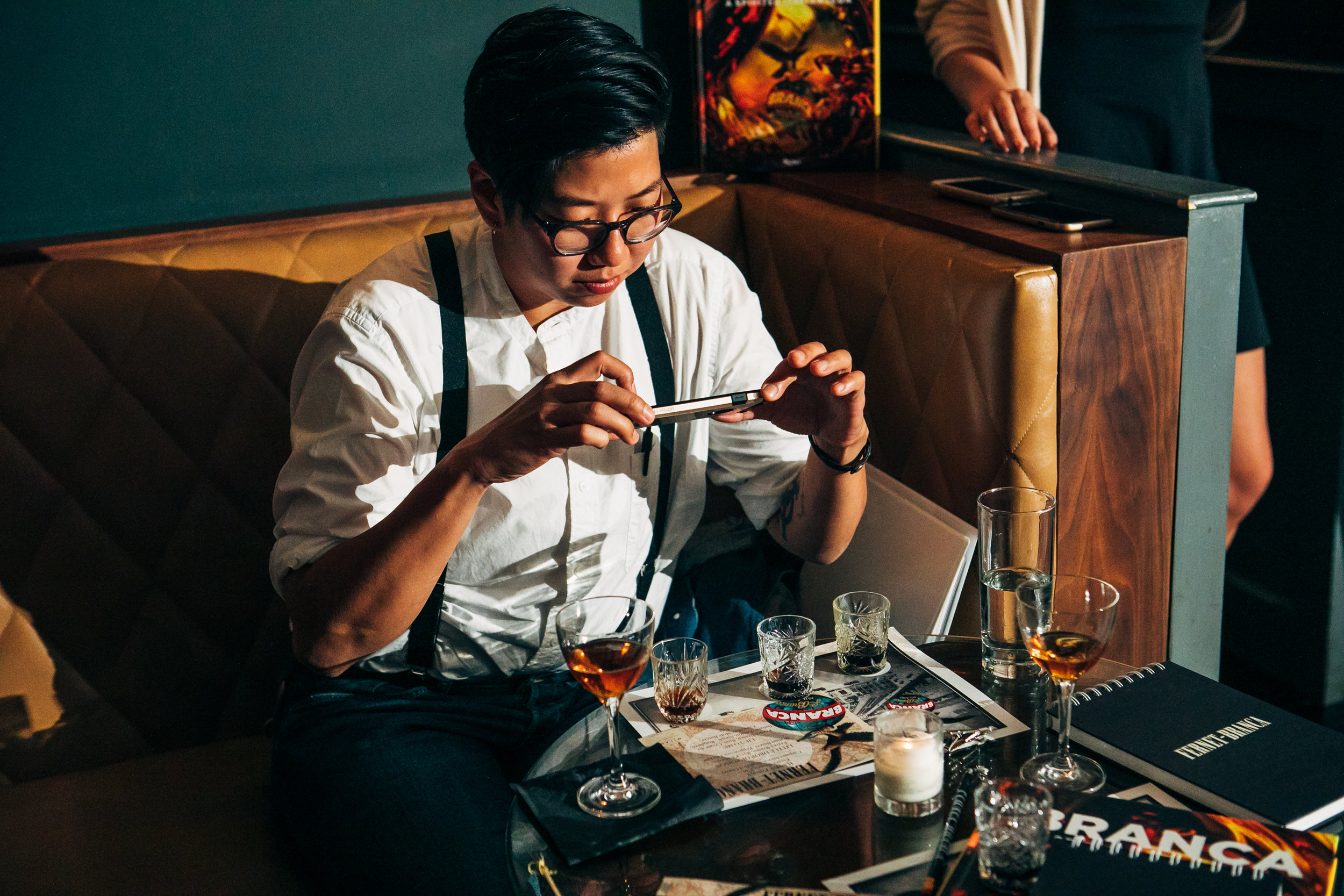 """A guest at Fernet Branca's """"Storied Sips"""" event in New York City. Photo: Shannon Sturgis."""