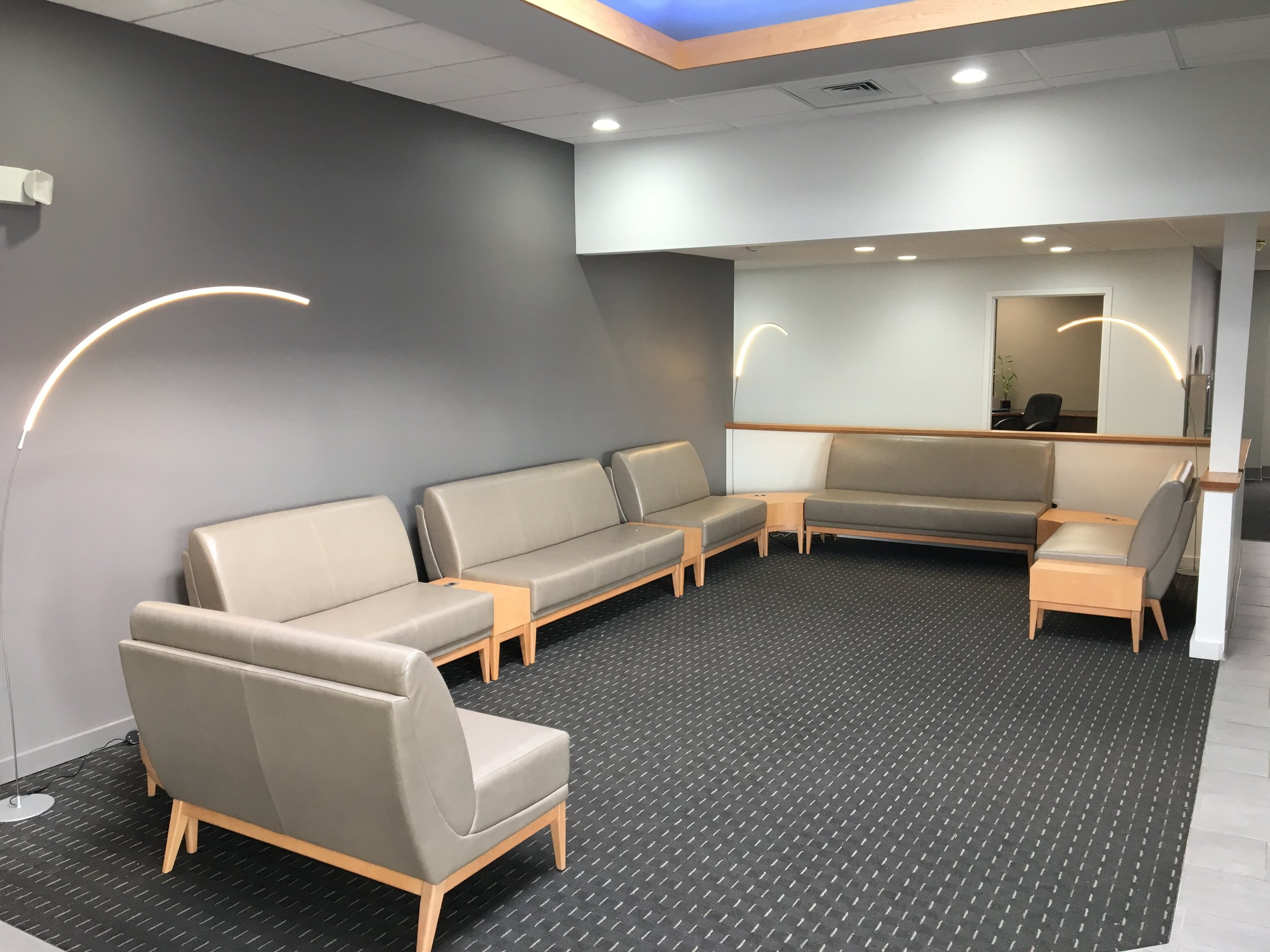 Lobby and lounge space for crew and passengers -
