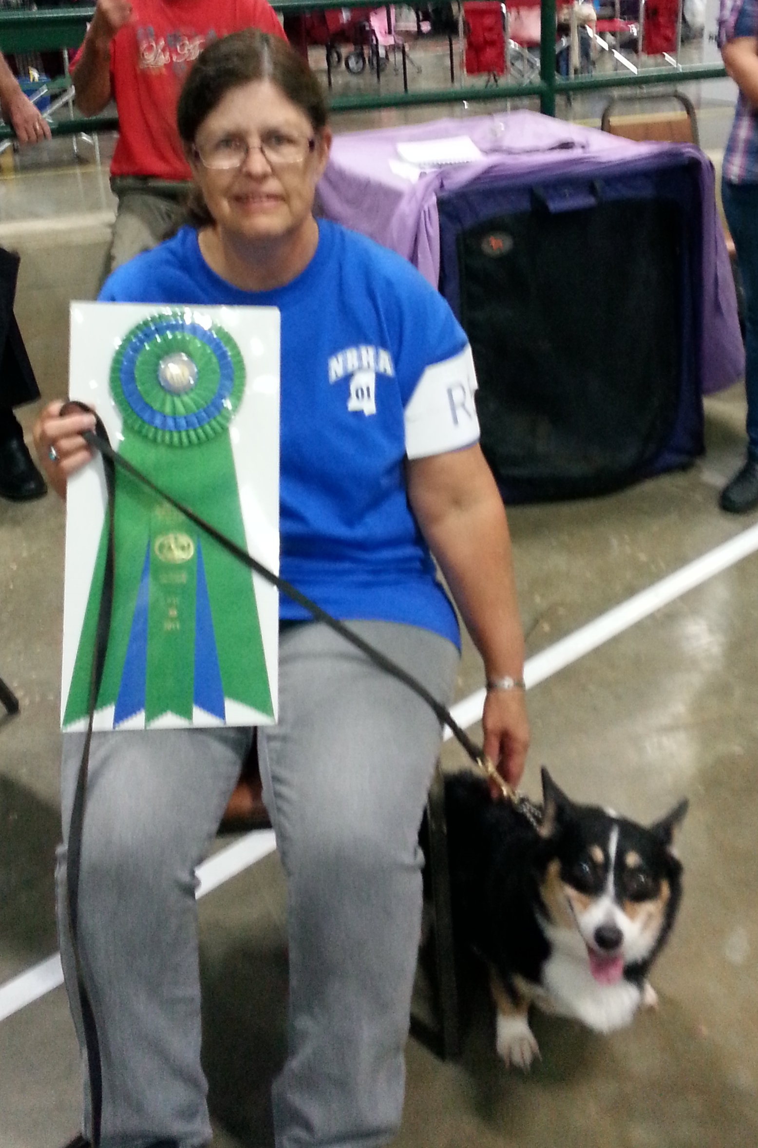 Our client Valerie and her dog Holly taking first place in Rally Obedience competition.