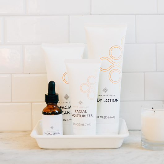 The New Life's Abundance Skin Care line debuted in September 2018