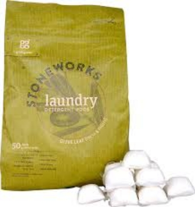 Stoneworks Laundry pods are my go-to. The pods come across as pretty scent-heavy, but once your laundry is done, the scent is. not over-powering. There is, however, an unscented version. The two scents I like are Olive Leaf (pictured) and Birch. But that's just my two cents. (See what I did there?)