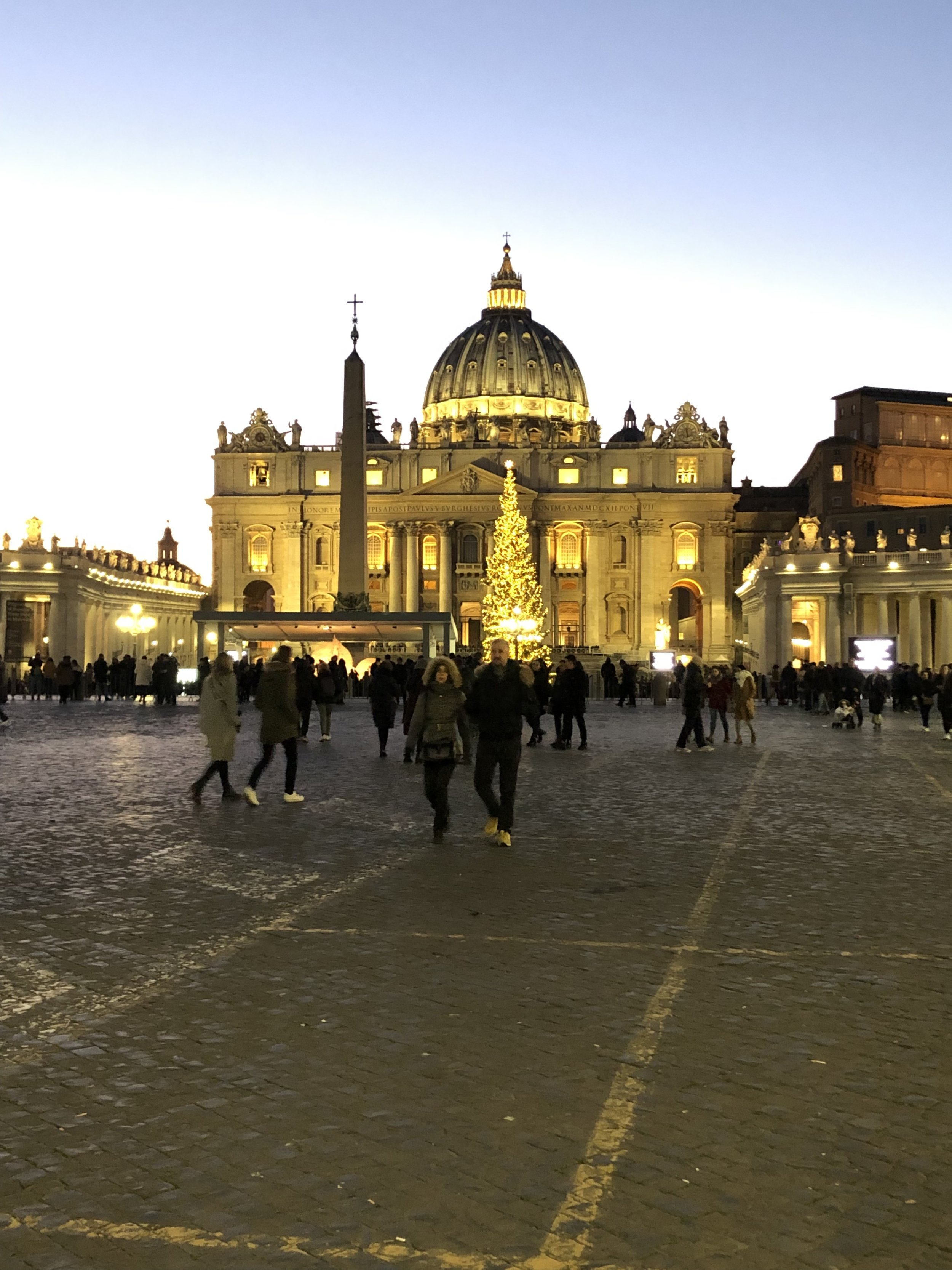 St. Peter's Basilica at twilight.