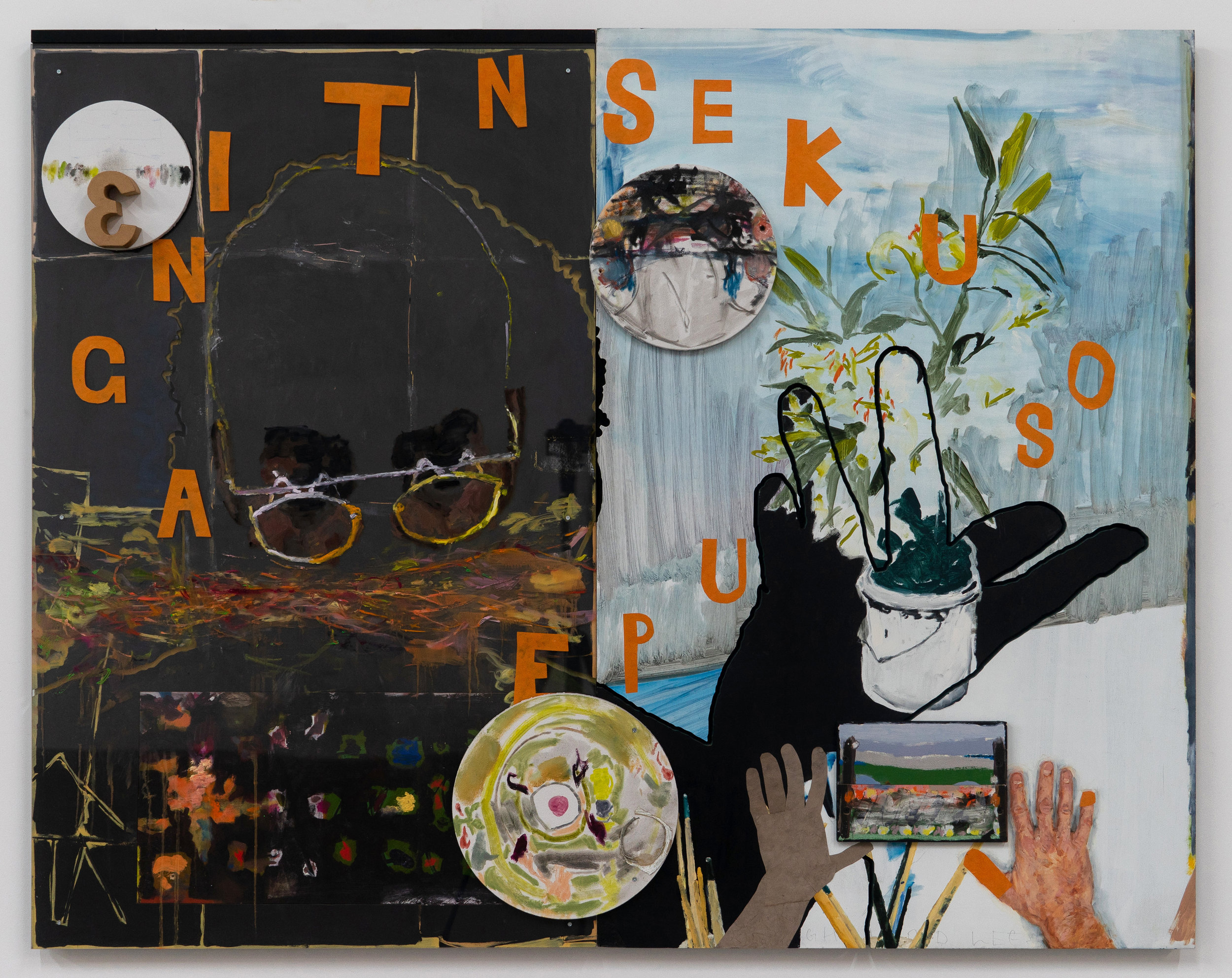 Graham Hamilton   Speak in Tongues  , 2015-2018 Oil, acrylic, flashe, pastel, japanese washi paper, marker, and papier mache on MDF, plexiglass, plywood and canvas 49 1/8 x 61 7/8 inches 124.8 x 157.2 cm