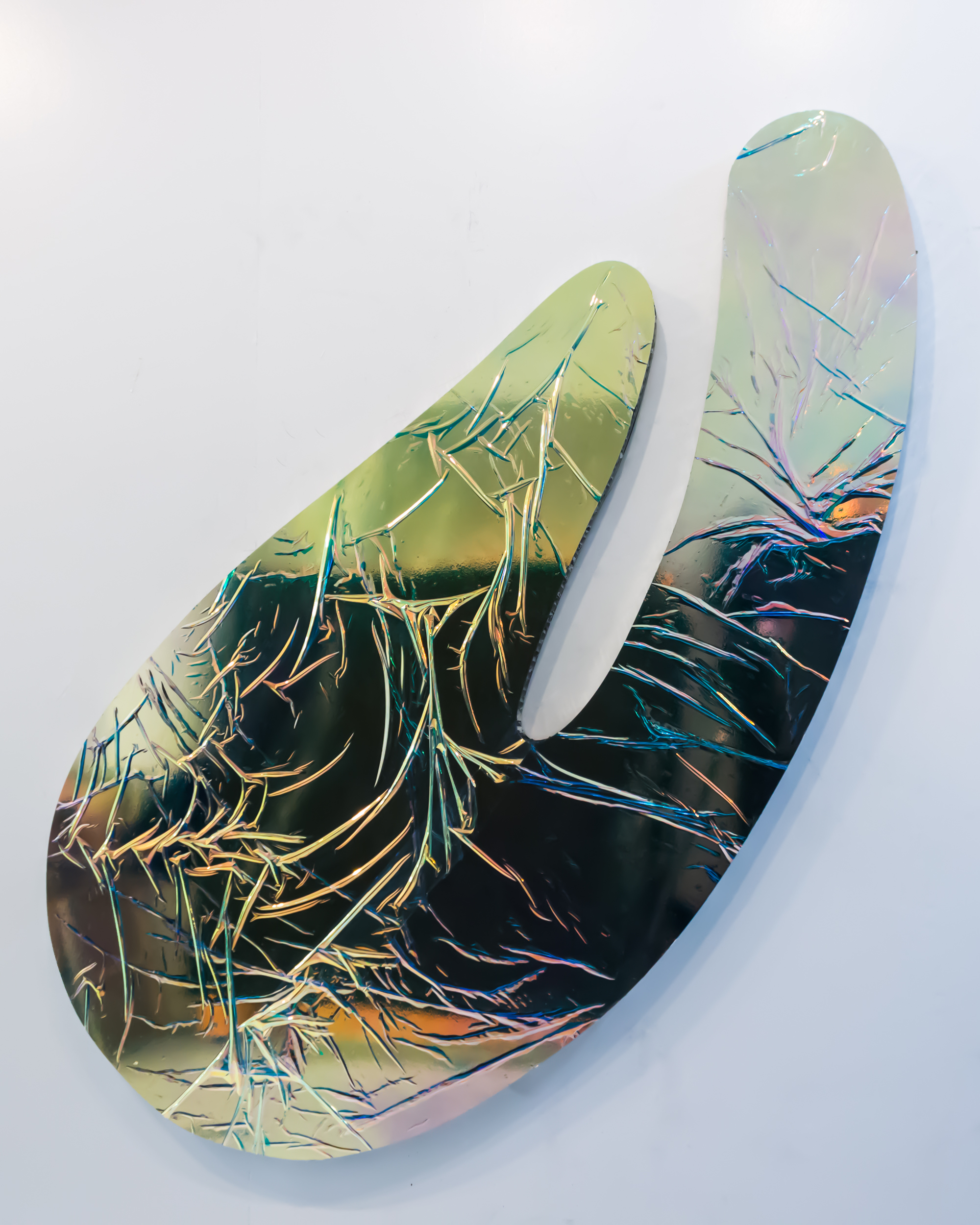 Carol Peligian,  Borderland REM VI , 2017, aluminum, paint, film, pigment and urethane, 74 x 36 x 2 inches