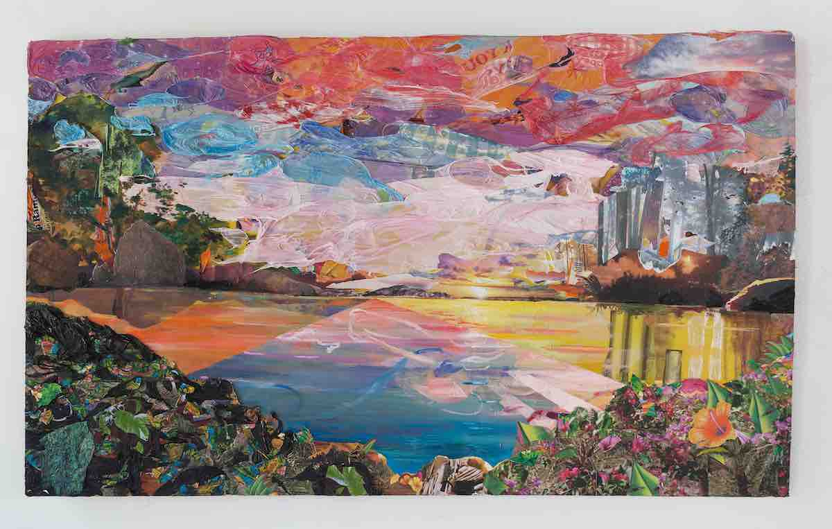 Camille Hoffman,  Sunset for Fred Church , 2016, acrylic, oil, plastic tablecloths, nature calendars, Top Ramen packaging, tiki party favors, plastic bag, and photos on board, 36 x 60 x 2 inches