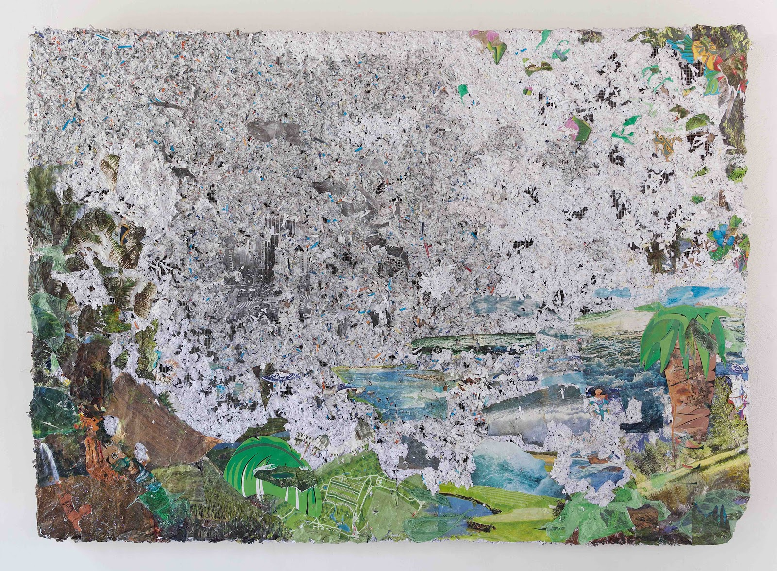 Camille Hoffman,  Landing (Mist Parts Over Columbus Circle) , 2017, medical records, credit card offers, tiki decorations, nature calendars, plastic tablecloths, plastic bags, Dora the Explorer puzzle pieces, photo, maps and oil on chicken wire and wood, 48 x 66 x 4 inches