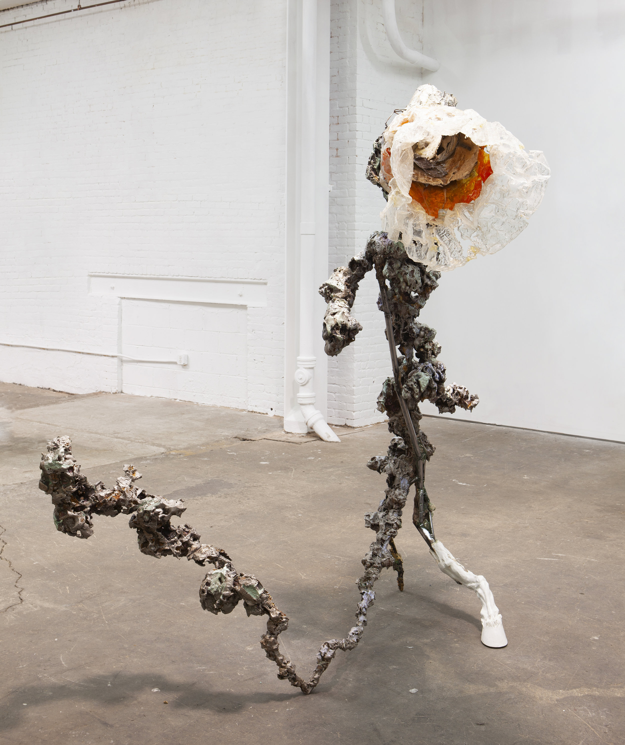 Yasue Maetake   Urethane Flower on Steel Stem Clad with Foam , 2013 Steel, polyurethane resin, epoxy clay, burnt and varnished styrofoam 91 x 110 x 67 inches 231.1 x 279.4 x 170.2 cm