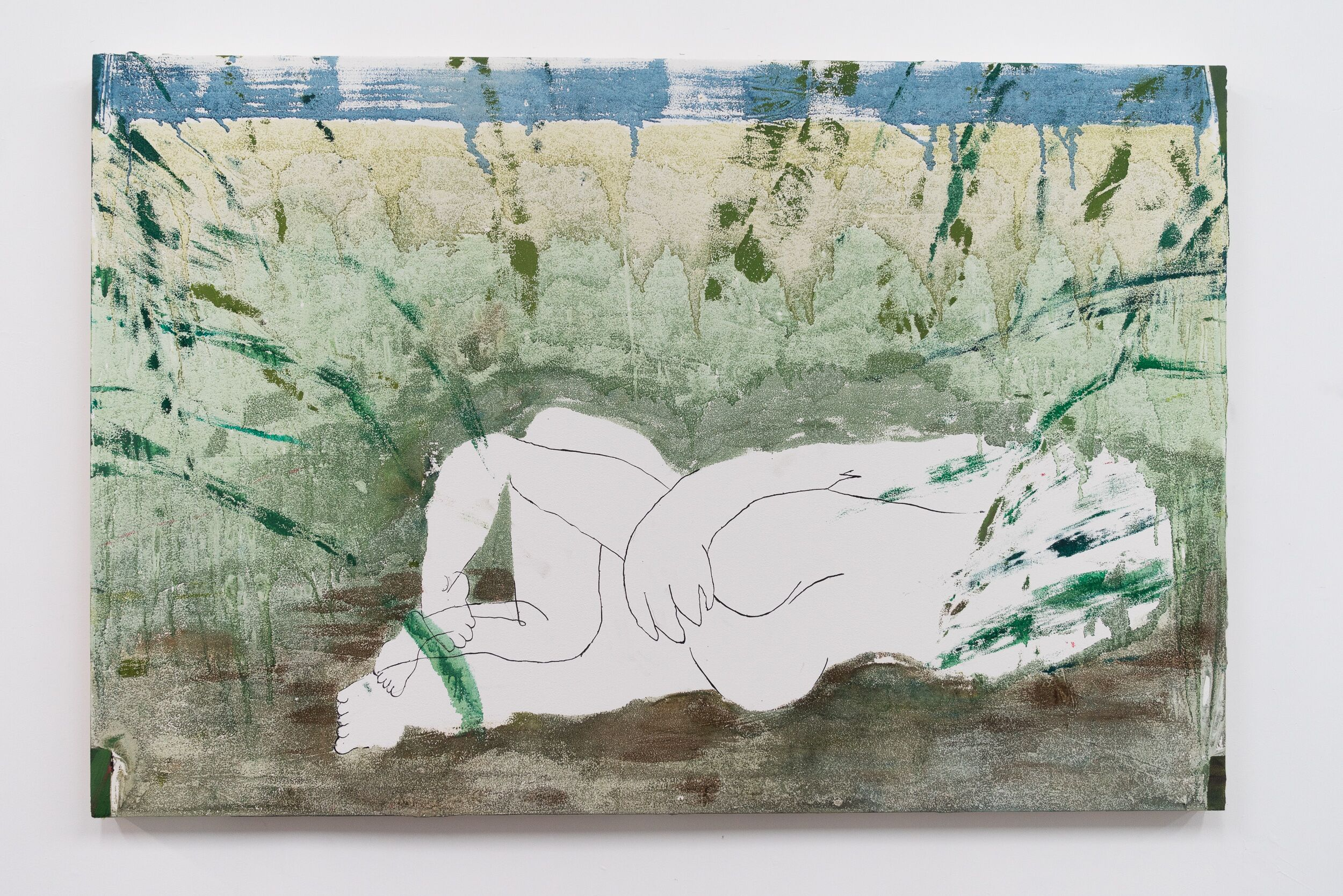 Emilie Gossiaux    Blurry Vision (After Making Out) , 2018 Oil paint on drywall   48 x 72 inches 121.9 cm x 182.9 cm