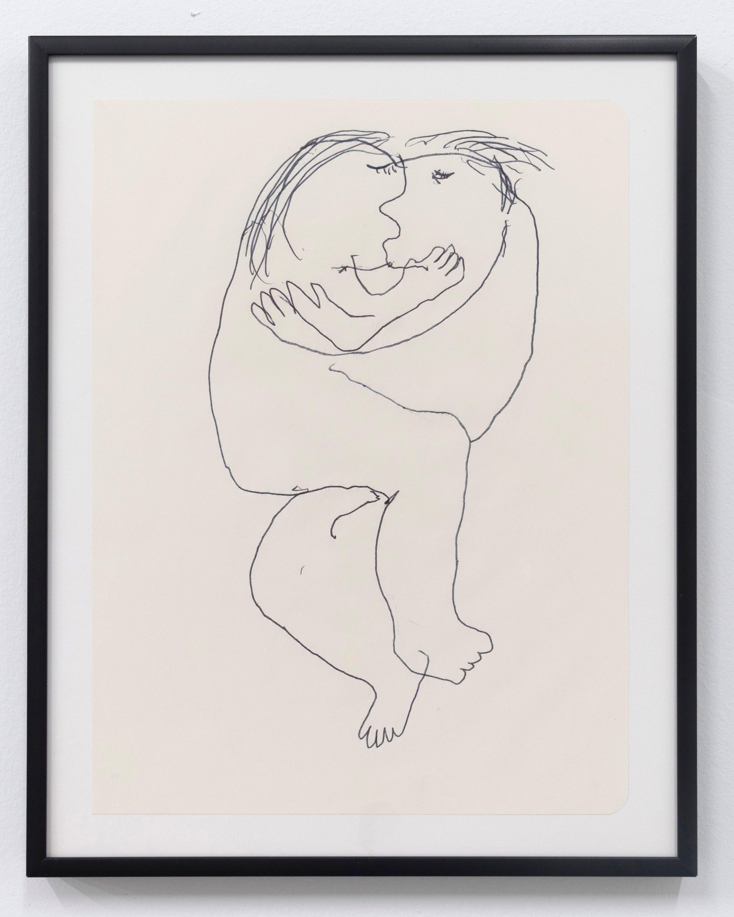 Emilie Gossiaux    The kiss , 2018 Ink on newsprint   11 1/2 x 9 1/8 inches 29.2 x 23.2 cm