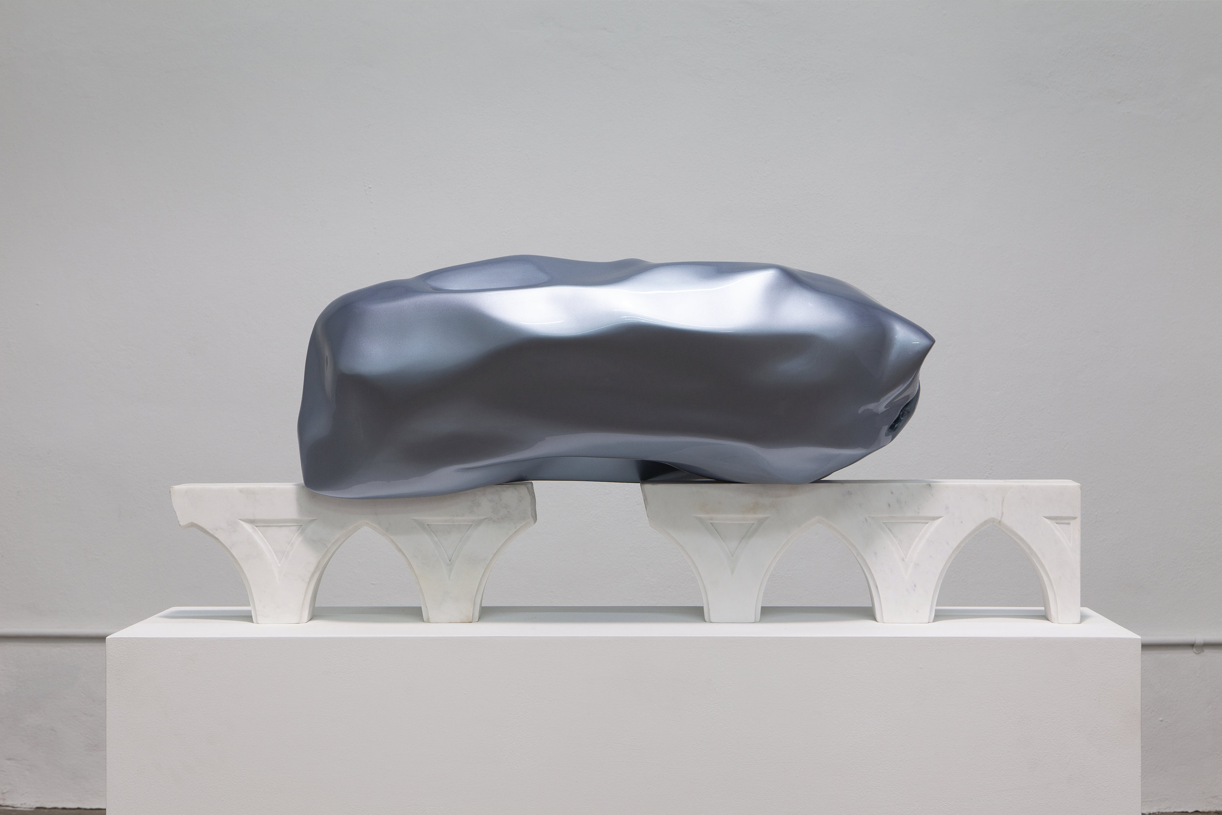 Carol Peligian,  Best Kept , 2019, Aluminum and painted fiberglass on marble, 21 × 48 × 18 inches